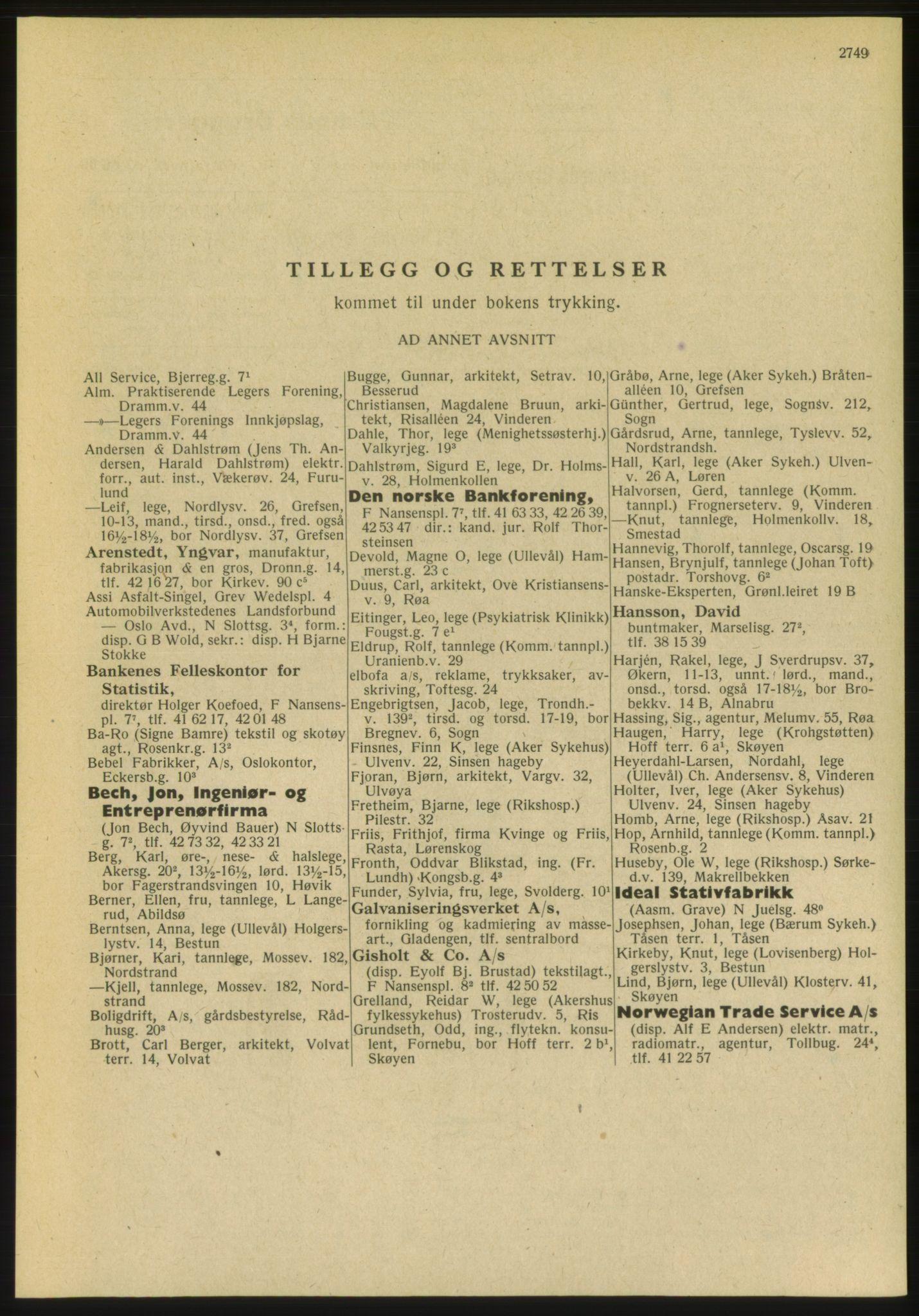 PUBL, Kristiania/Oslo adressebok, 1951, s. 2749