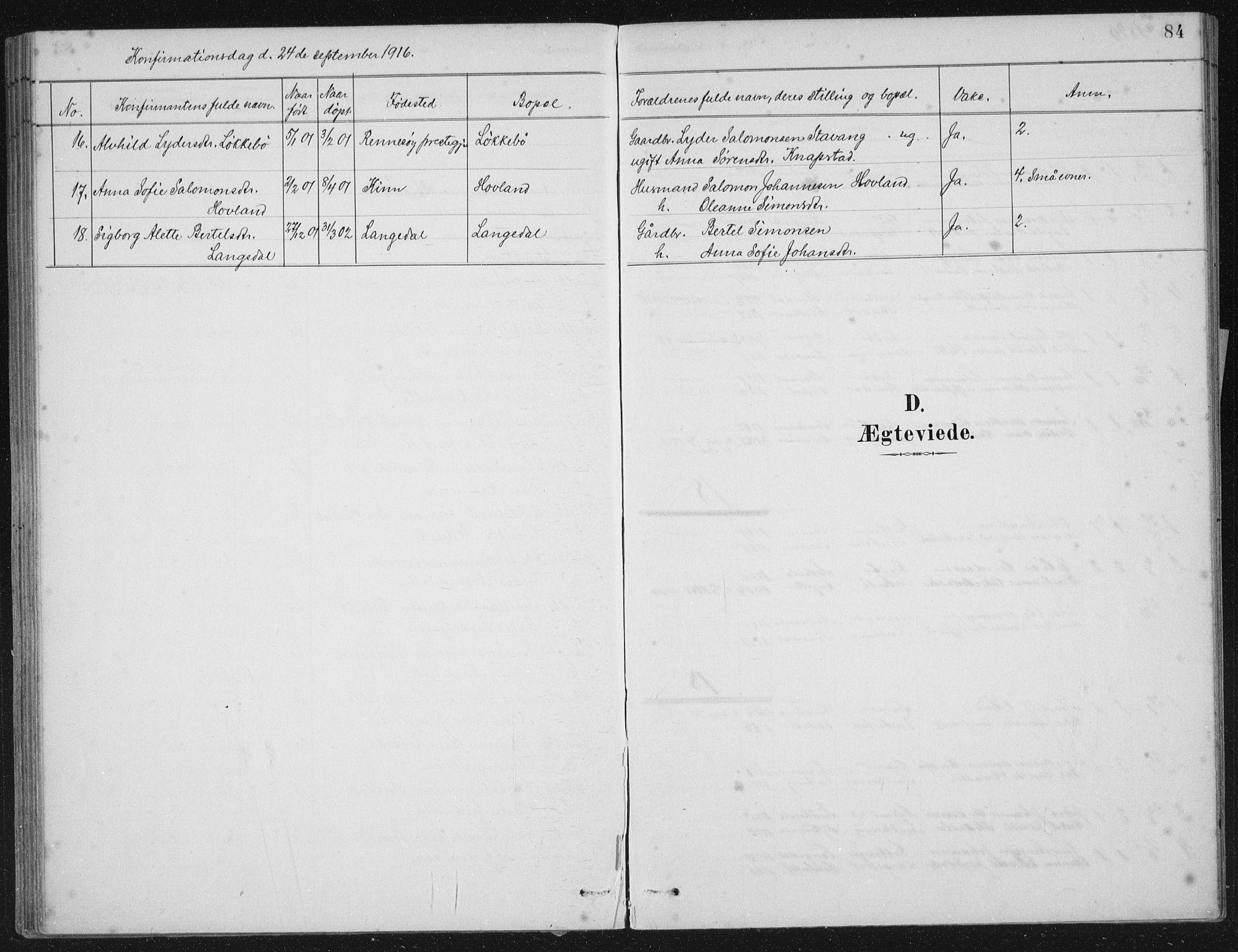 SAB, Kinn sokneprestembete, H/Haa/Haae/L0001: Ministerialbok nr. E 1, 1890-1916, s. 84
