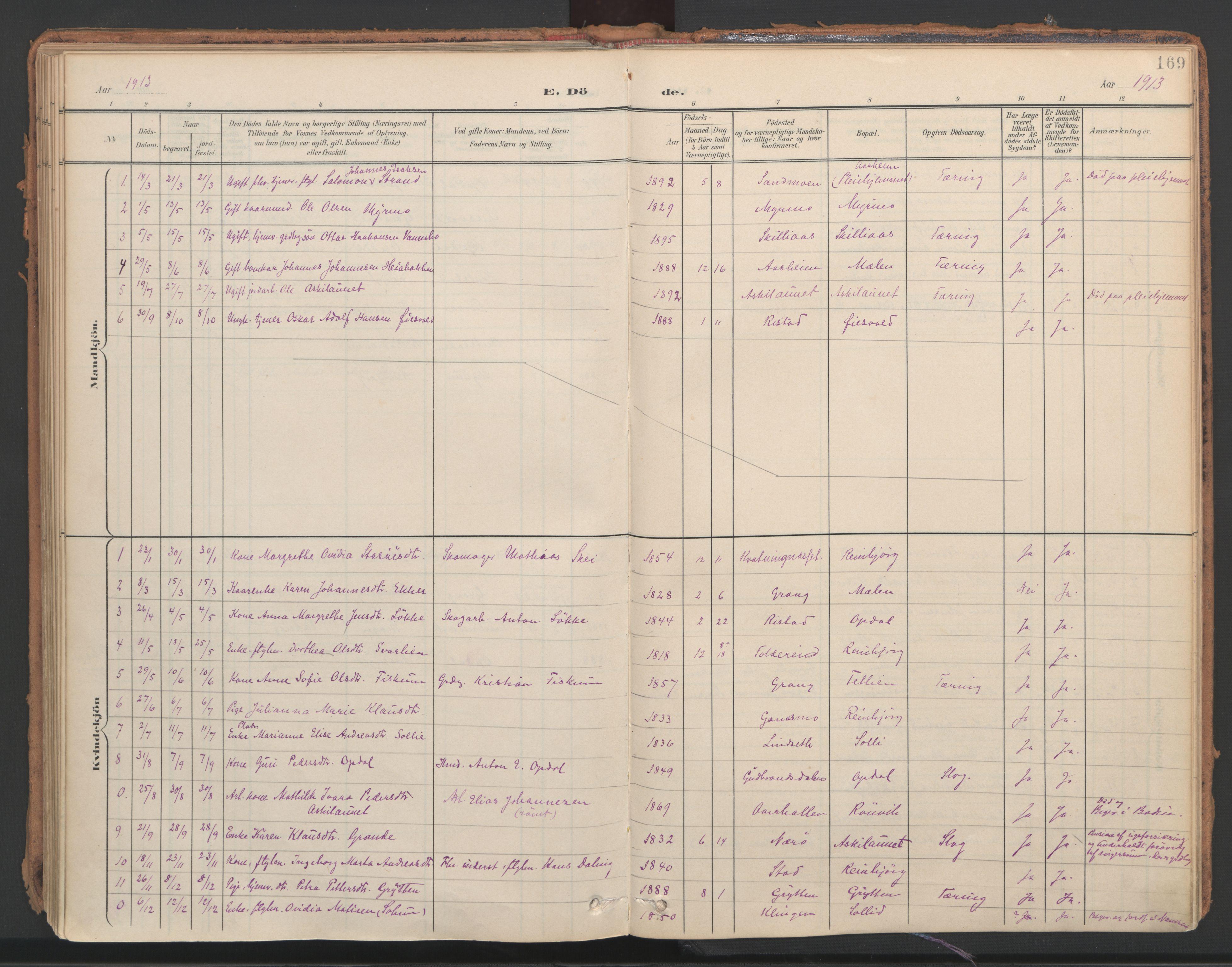 SAT, Ministerialprotokoller, klokkerbøker og fødselsregistre - Nord-Trøndelag, 766/L0564: Ministerialbok nr. 767A02, 1900-1932, s. 169
