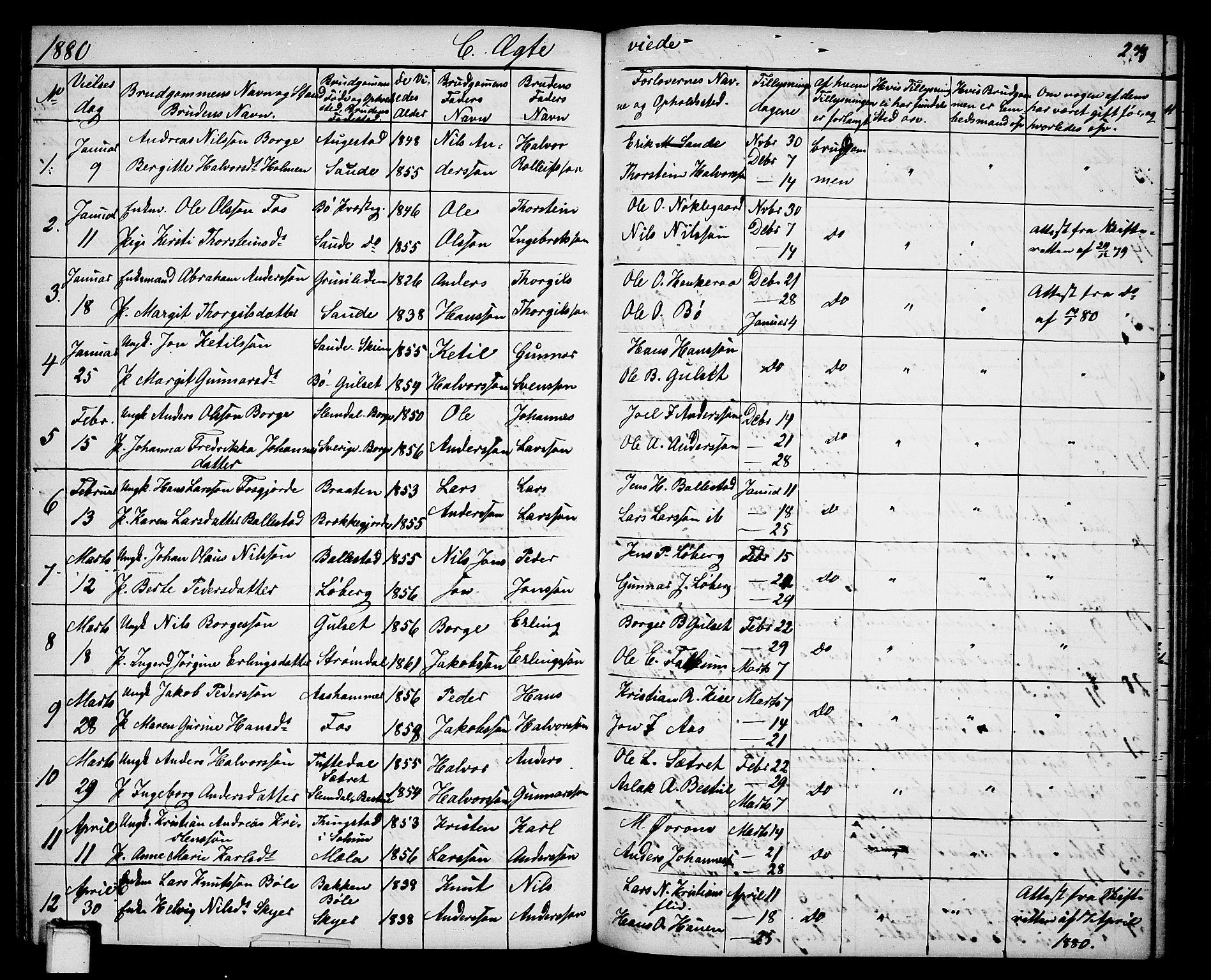 SAKO, Gjerpen kirkebøker, G/Ga/L0001: Klokkerbok nr. I 1, 1864-1882, s. 279