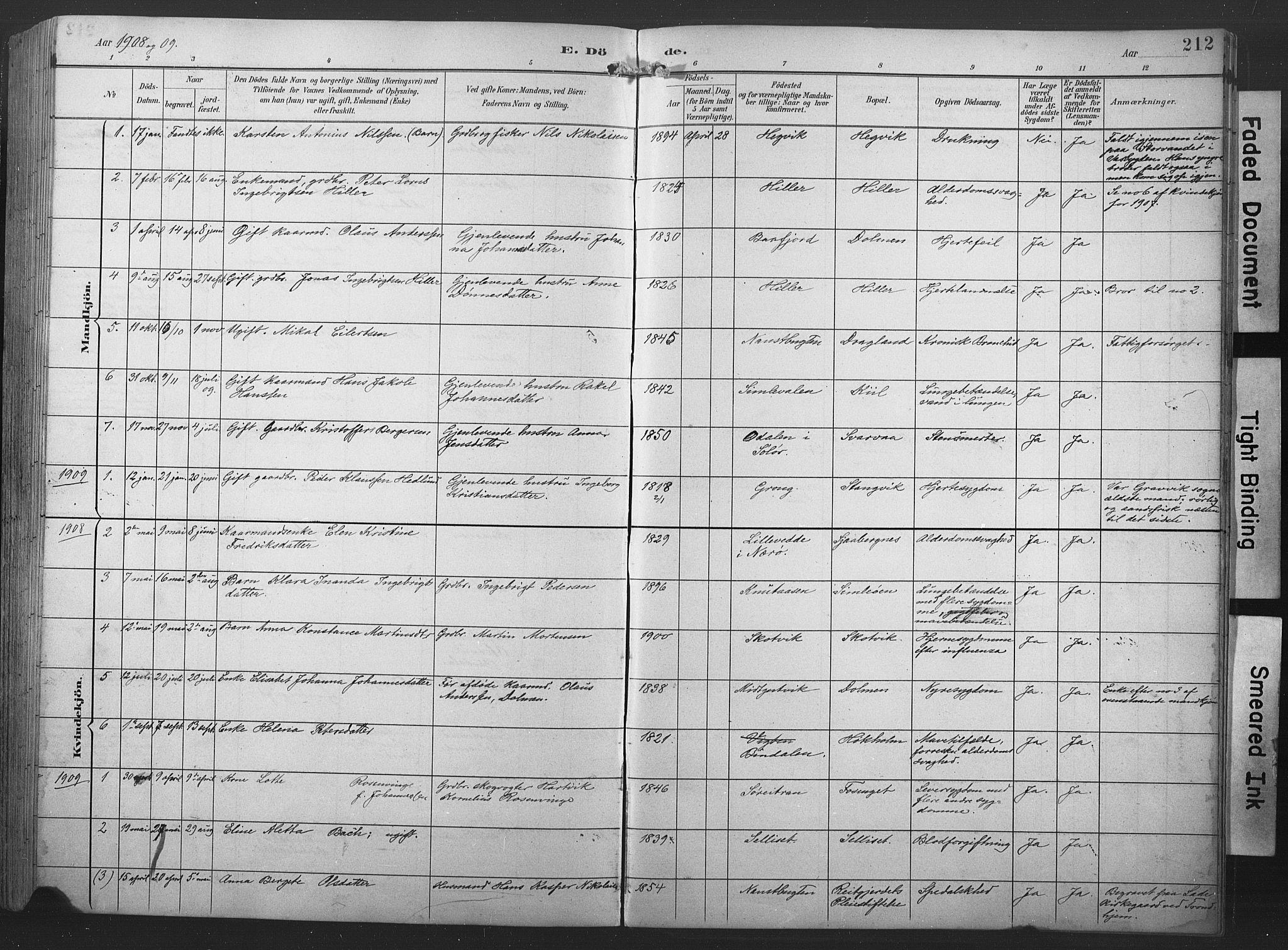 SAT, Ministerialprotokoller, klokkerbøker og fødselsregistre - Nord-Trøndelag, 789/L0706: Klokkerbok nr. 789C01, 1888-1931, s. 212