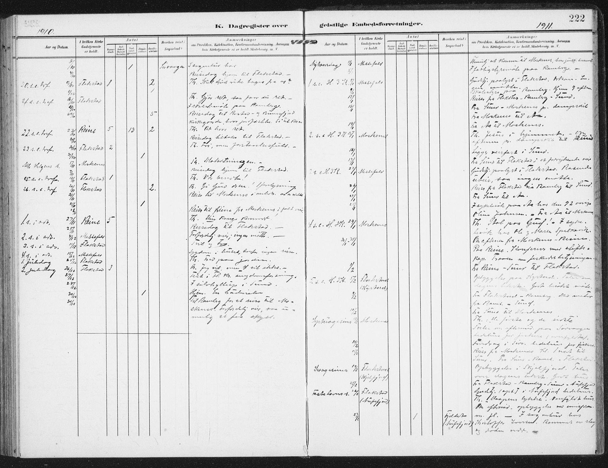 SAT, Ministerialprotokoller, klokkerbøker og fødselsregistre - Nordland, 885/L1206: Ministerialbok nr. 885A07, 1905-1915, s. 222