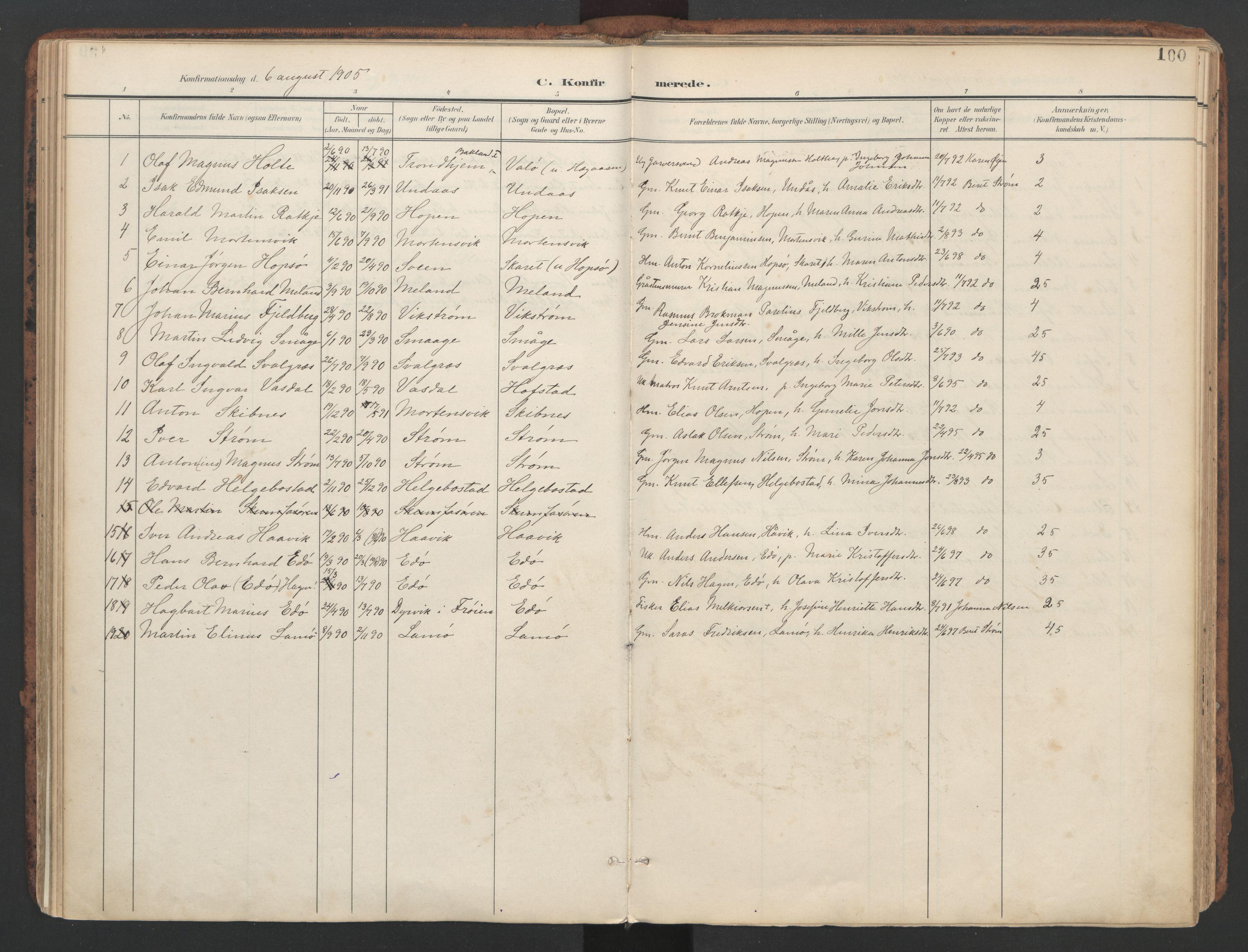SAT, Ministerialprotokoller, klokkerbøker og fødselsregistre - Sør-Trøndelag, 634/L0537: Ministerialbok nr. 634A13, 1896-1922, s. 100