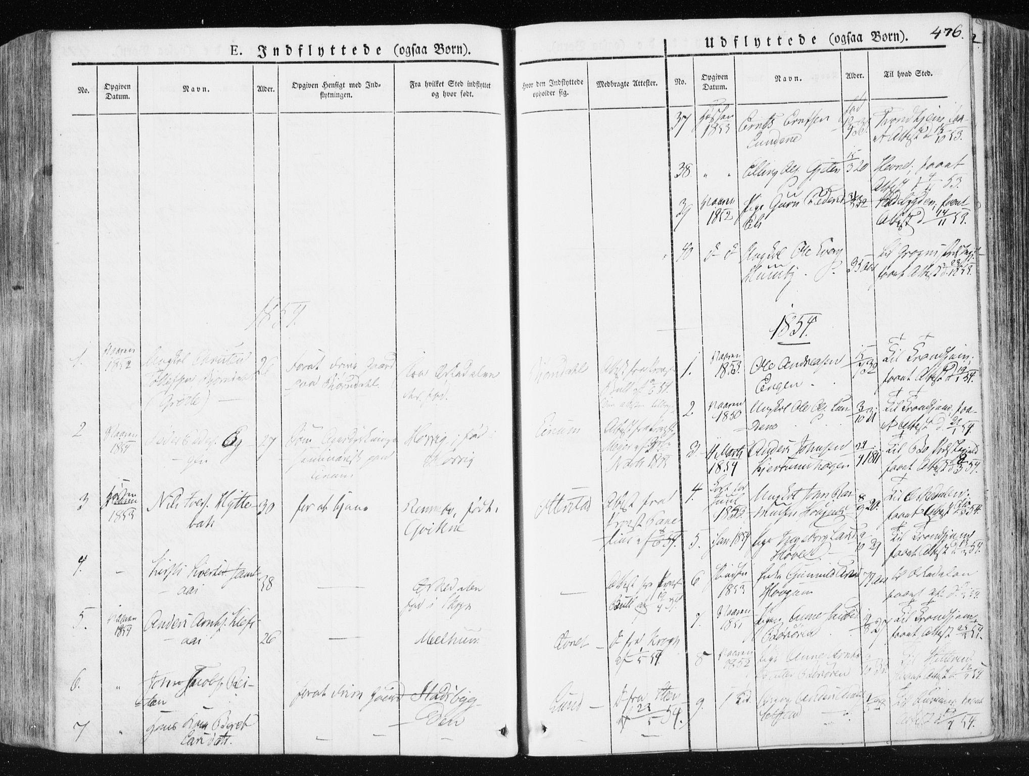 SAT, Ministerialprotokoller, klokkerbøker og fødselsregistre - Sør-Trøndelag, 665/L0771: Ministerialbok nr. 665A06, 1830-1856, s. 476