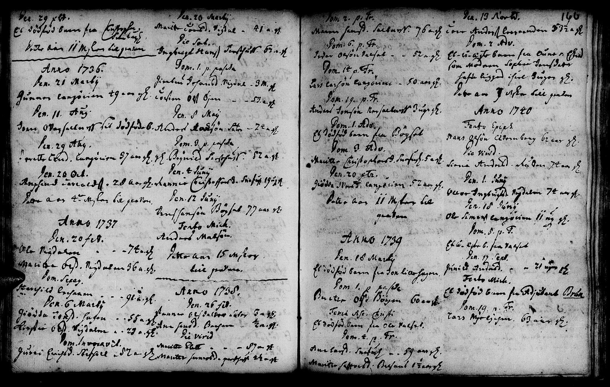 SAT, Ministerialprotokoller, klokkerbøker og fødselsregistre - Sør-Trøndelag, 666/L0783: Ministerialbok nr. 666A01, 1702-1753, s. 166