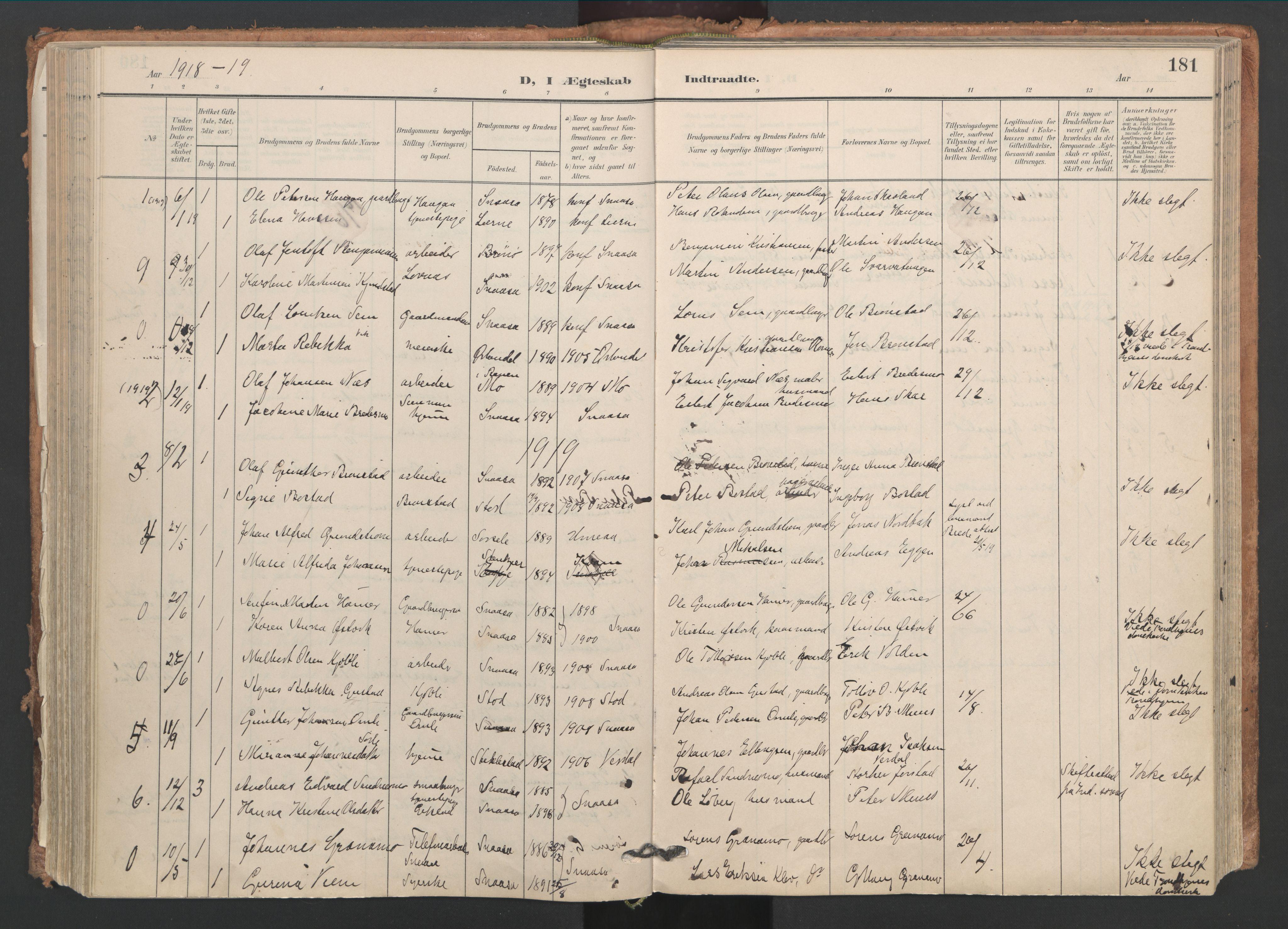 SAT, Ministerialprotokoller, klokkerbøker og fødselsregistre - Nord-Trøndelag, 749/L0477: Ministerialbok nr. 749A11, 1902-1927, s. 181