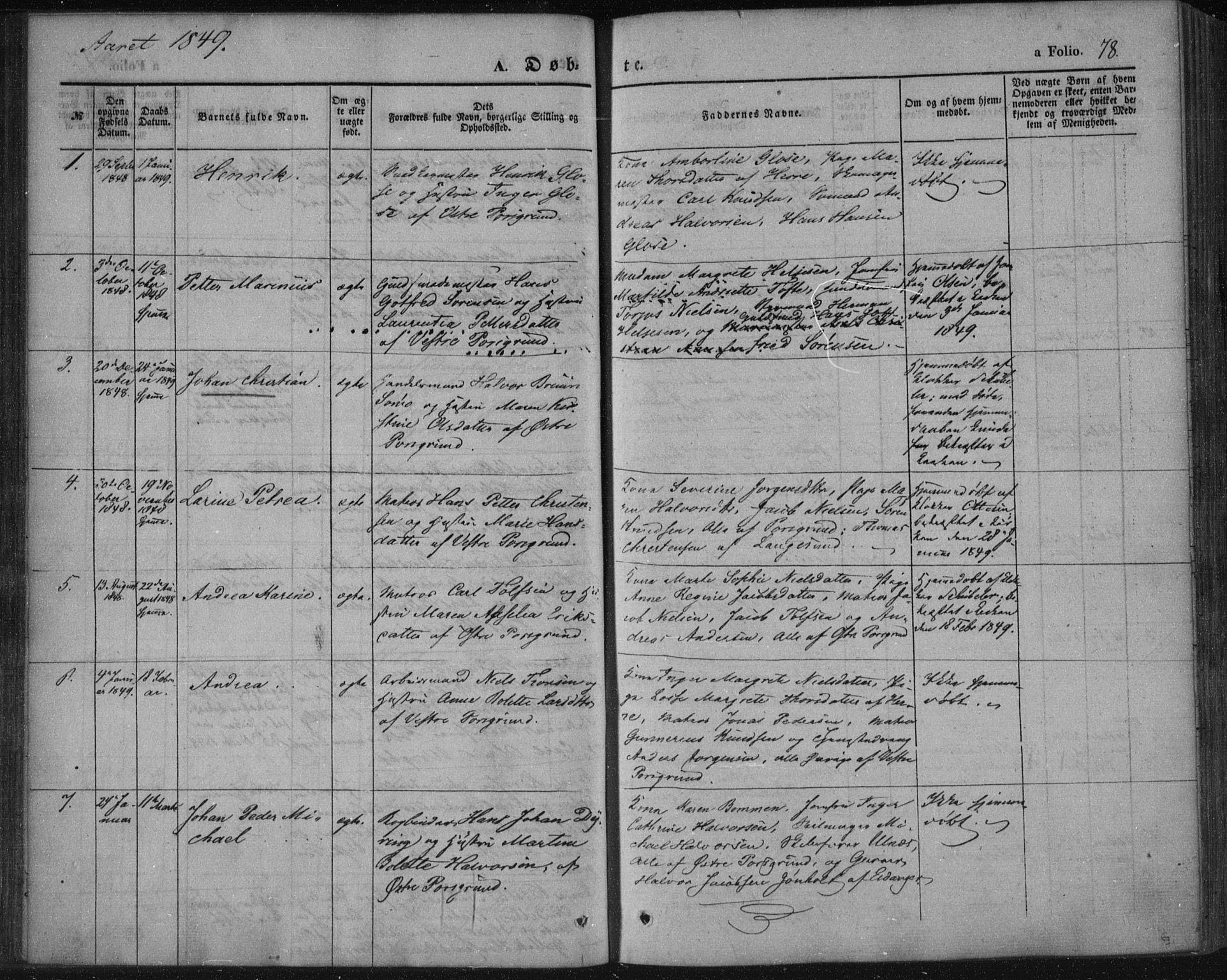 SAKO, Porsgrunn kirkebøker , F/Fa/L0006: Ministerialbok nr. 6, 1841-1857, s. 78