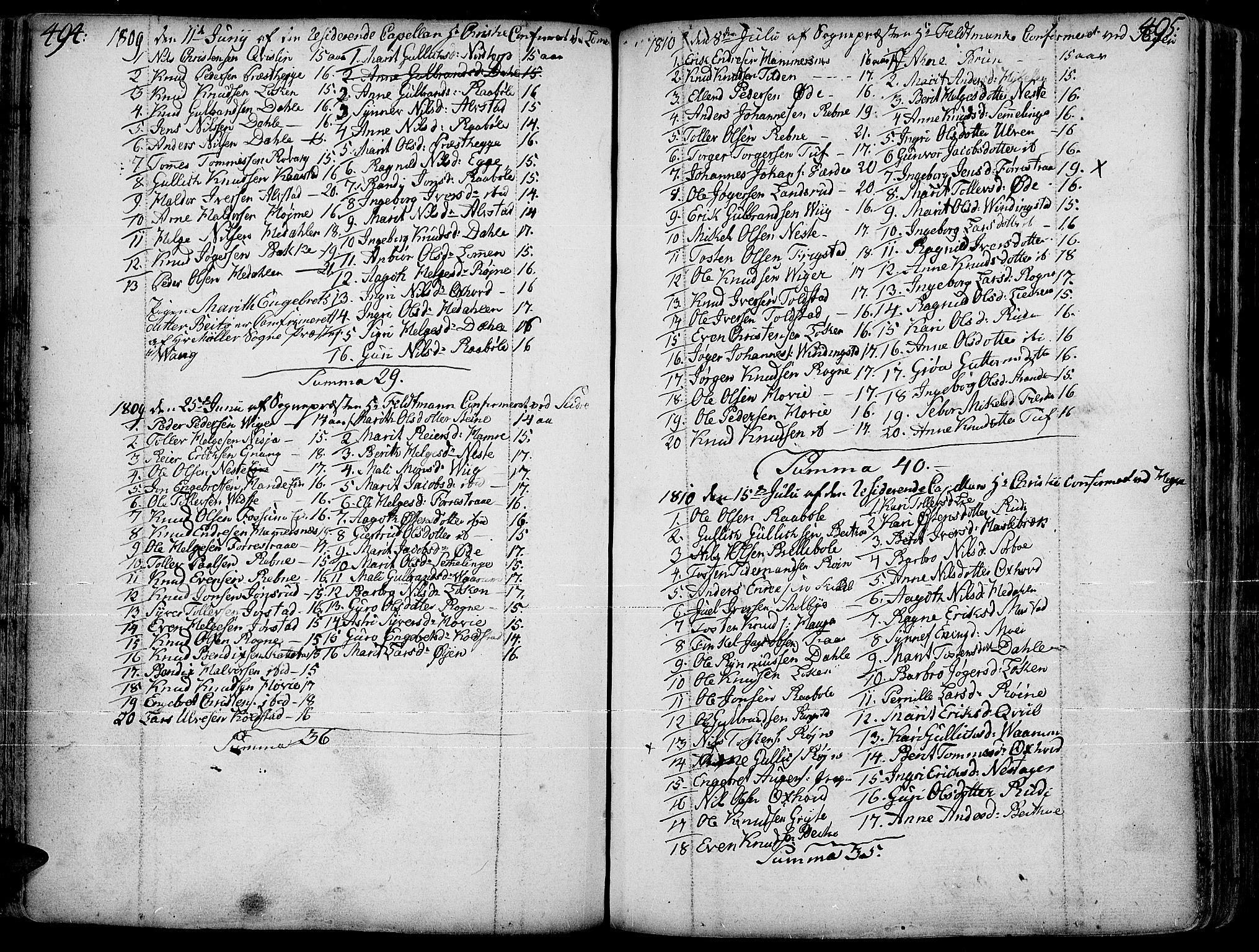 SAH, Slidre prestekontor, Ministerialbok nr. 1, 1724-1814, s. 494-495