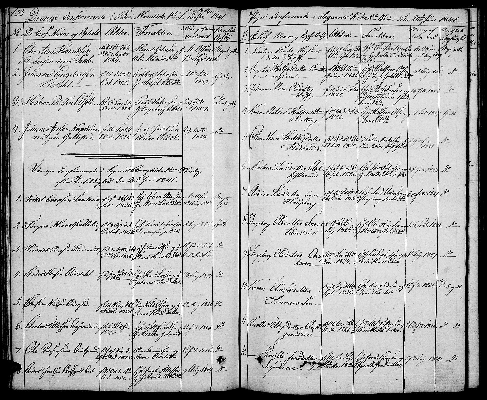 SAH, Biri prestekontor, Klokkerbok nr. 2, 1828-1842, s. 133