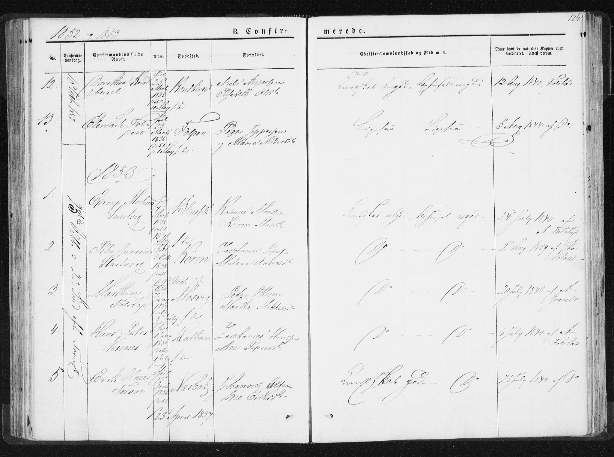 SAT, Ministerialprotokoller, klokkerbøker og fødselsregistre - Nord-Trøndelag, 744/L0418: Ministerialbok nr. 744A02, 1843-1866, s. 124