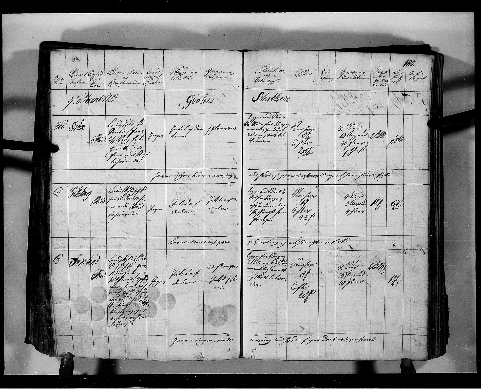 RA, Rentekammeret inntil 1814, Realistisk ordnet avdeling, N/Nb/Nbf/L0139: Nordhordland eksaminasjonsprotokoll, 1723, s. 184b-185a