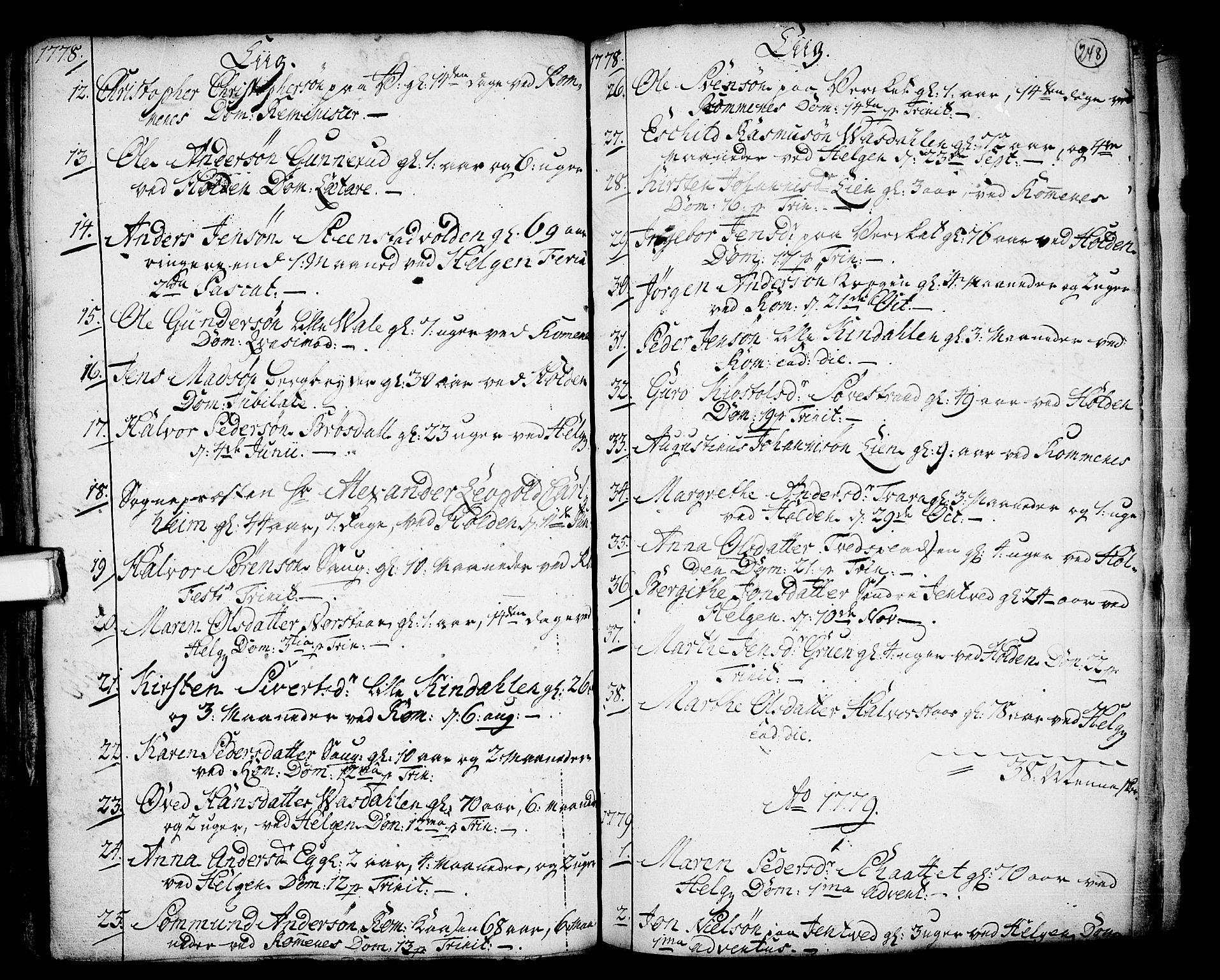 SAKO, Holla kirkebøker, F/Fa/L0001: Ministerialbok nr. 1, 1717-1779, s. 248