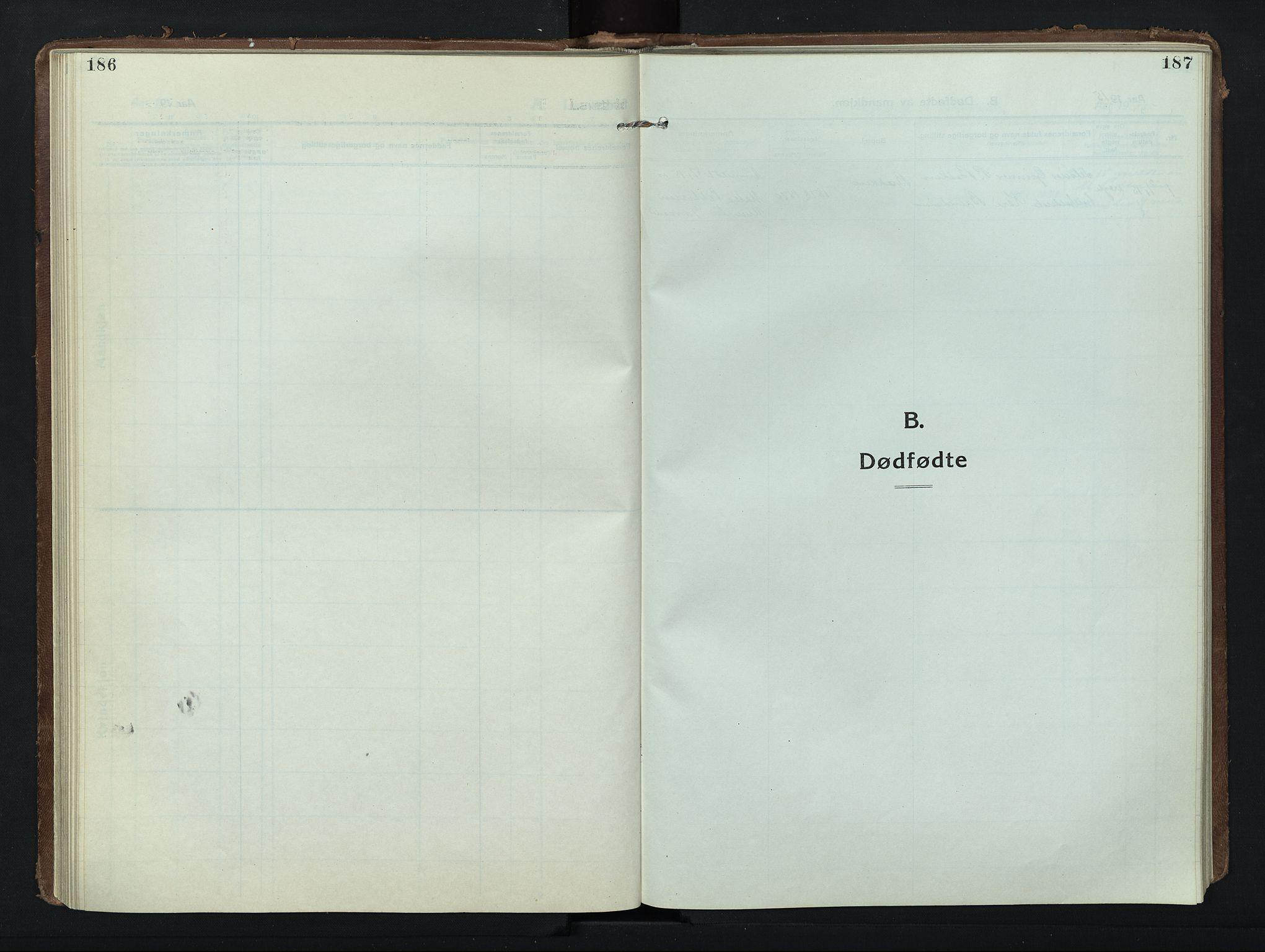 SAH, Nord-Fron prestekontor, Klokkerbok nr. 8, 1915-1948, s. 186-187