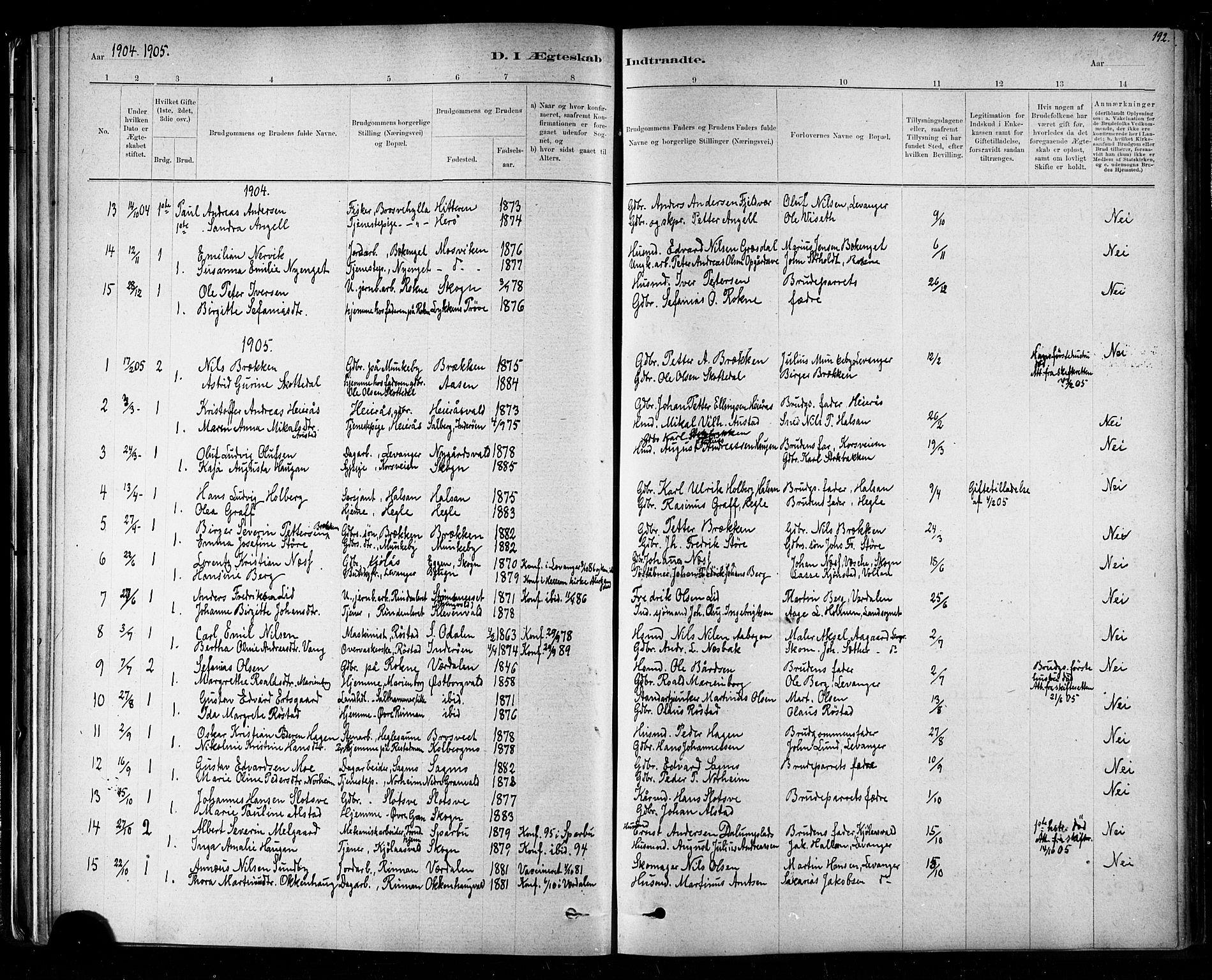 SAT, Ministerialprotokoller, klokkerbøker og fødselsregistre - Nord-Trøndelag, 721/L0208: Klokkerbok nr. 721C01, 1880-1917, s. 192