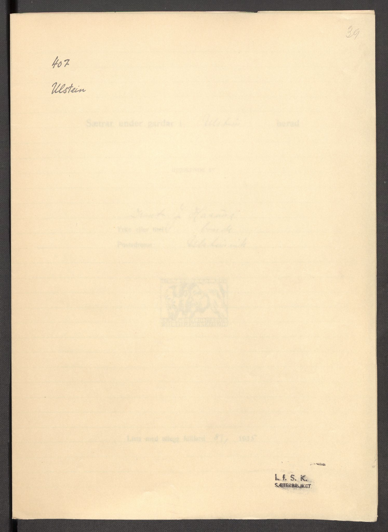 RA, Instituttet for sammenlignende kulturforskning, F/Fc/L0012: Eske B12:, 1934-1936, s. 39