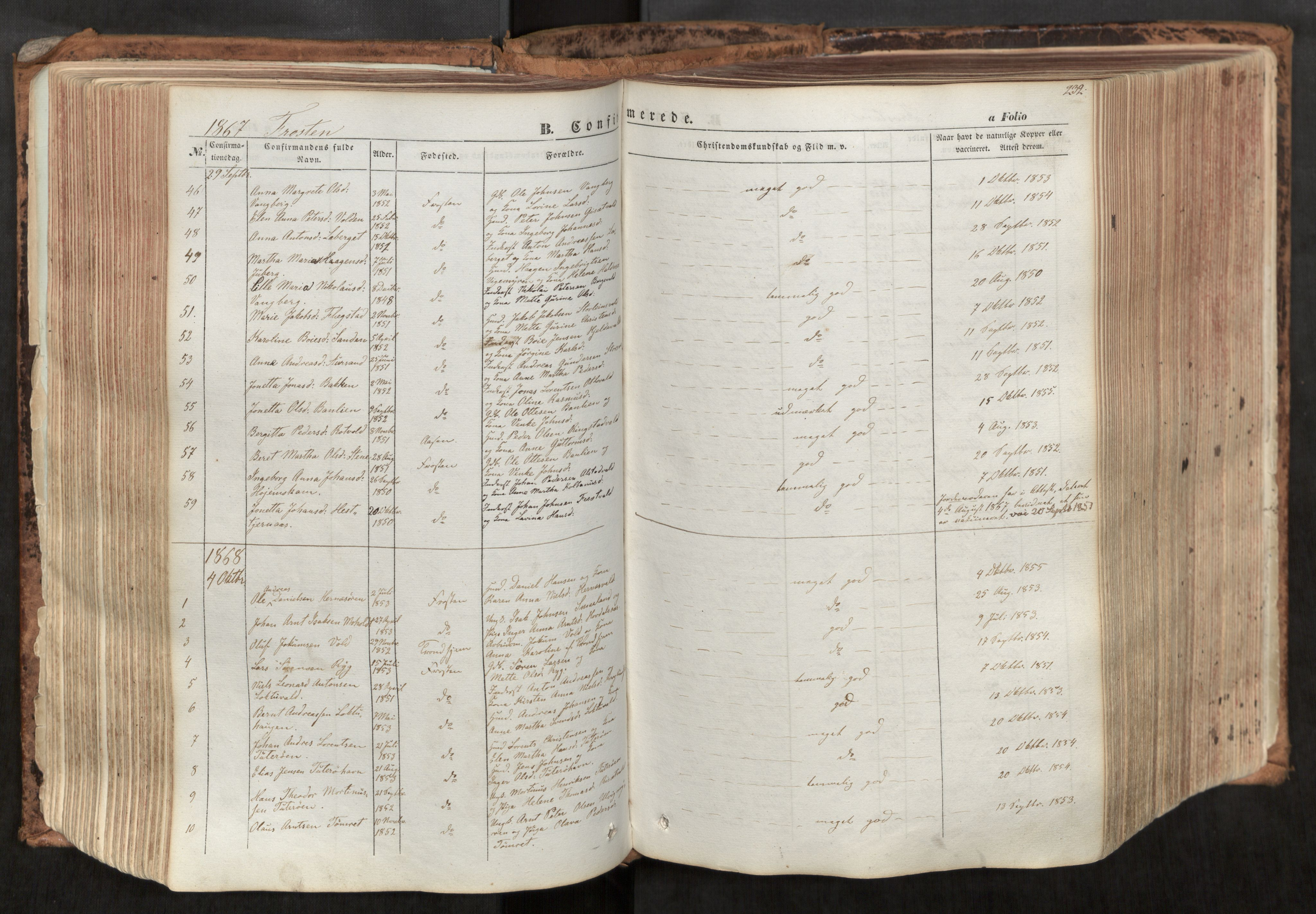 SAT, Ministerialprotokoller, klokkerbøker og fødselsregistre - Nord-Trøndelag, 713/L0116: Ministerialbok nr. 713A07, 1850-1877, s. 232