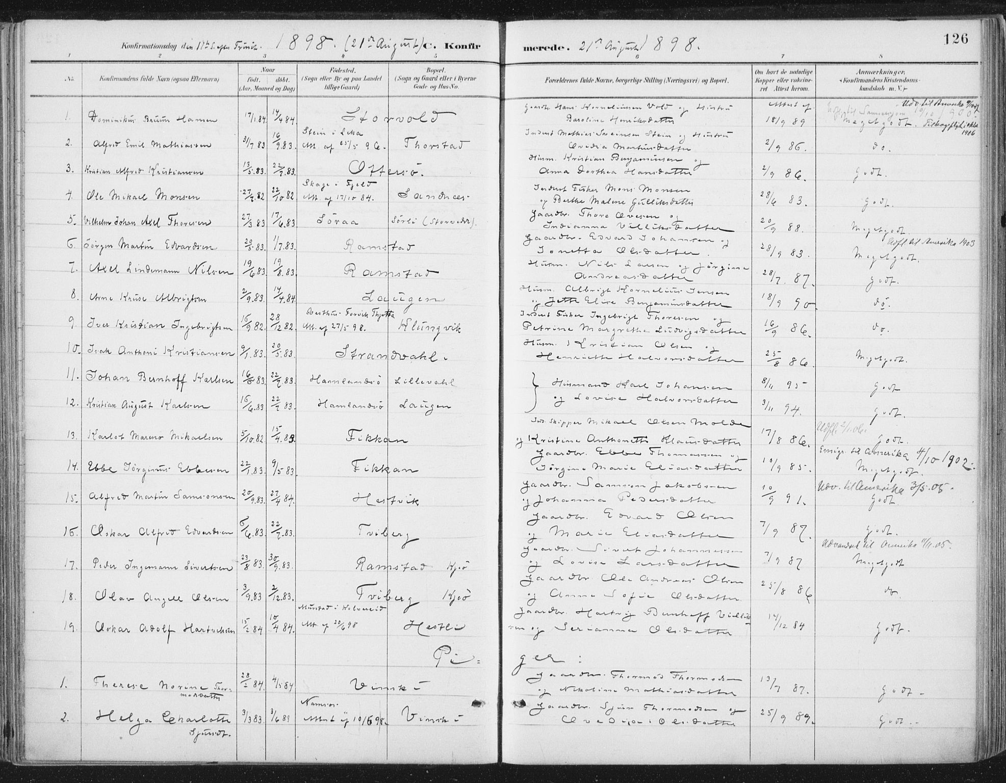 SAT, Ministerialprotokoller, klokkerbøker og fødselsregistre - Nord-Trøndelag, 784/L0673: Ministerialbok nr. 784A08, 1888-1899, s. 126