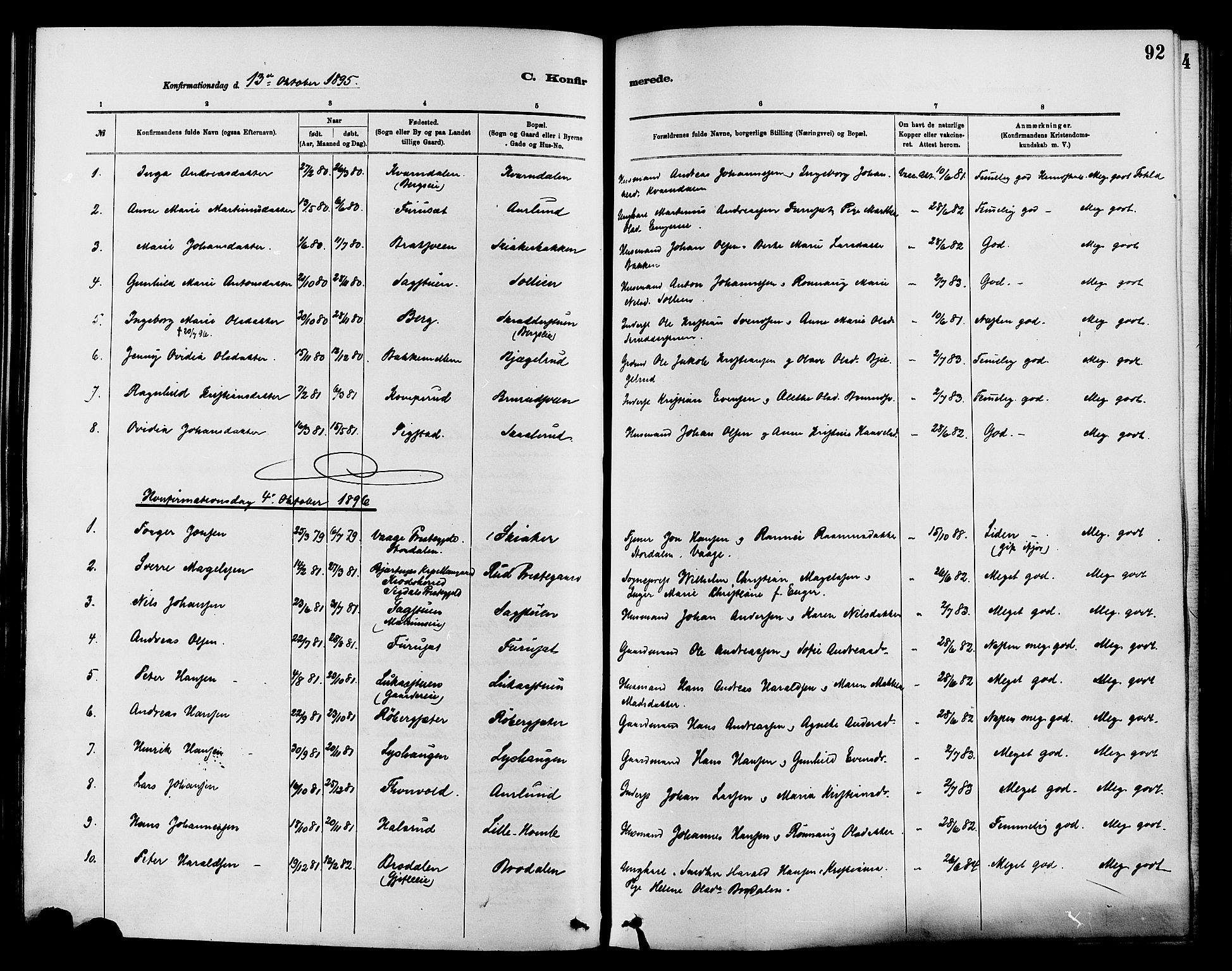 SAH, Nordre Land prestekontor, Ministerialbok nr. 3, 1882-1896, s. 92