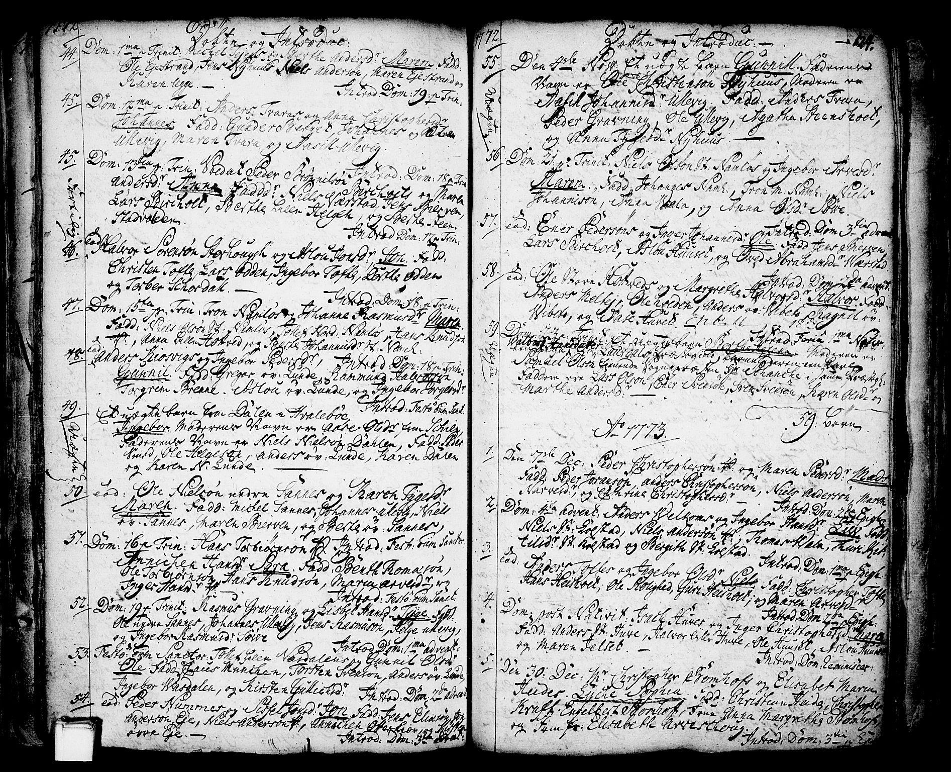 SAKO, Holla kirkebøker, F/Fa/L0001: Ministerialbok nr. 1, 1717-1779, s. 124