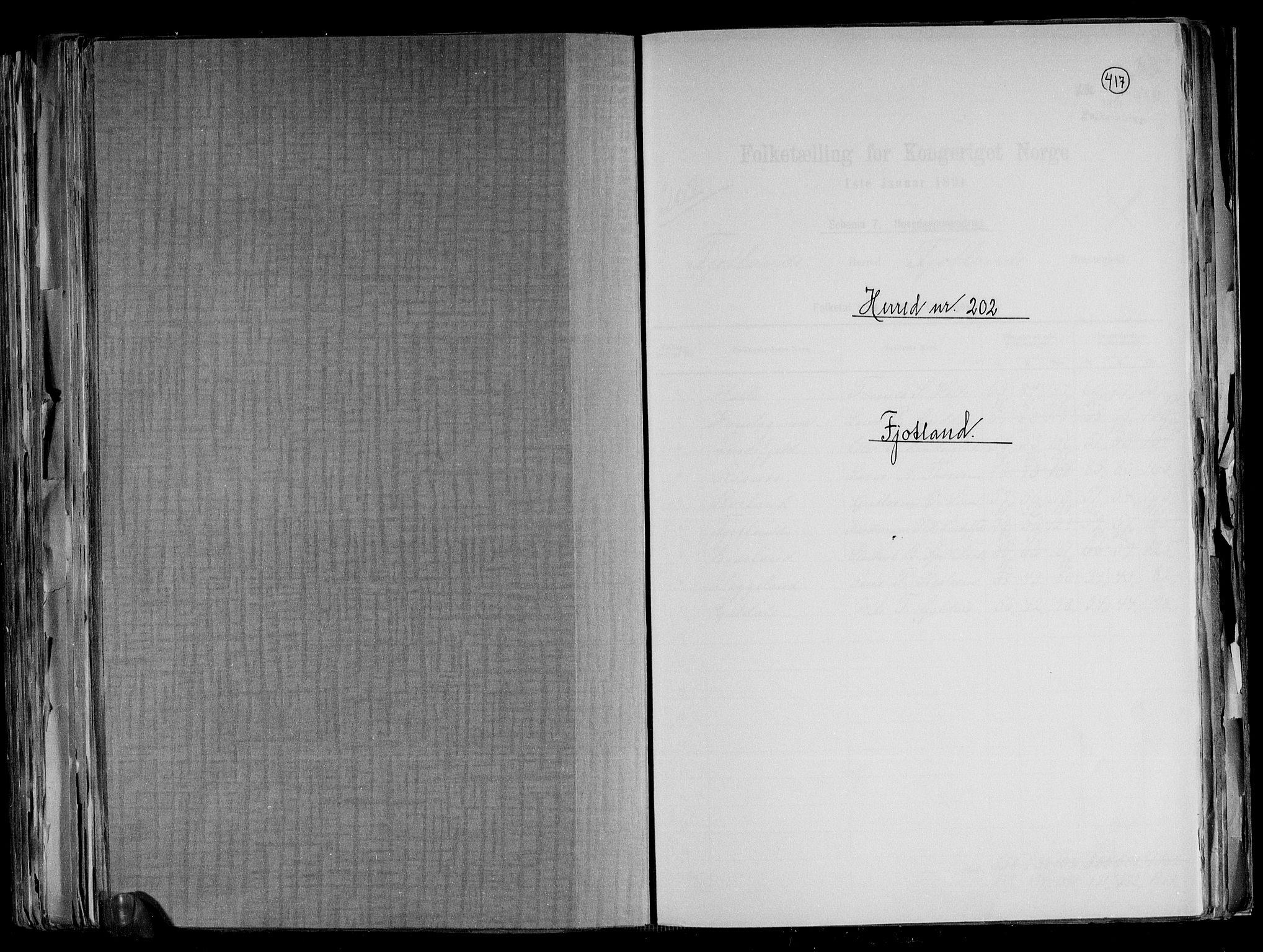 RA, Folketelling 1891 for 1036 Fjotland herred, 1891, s. 1