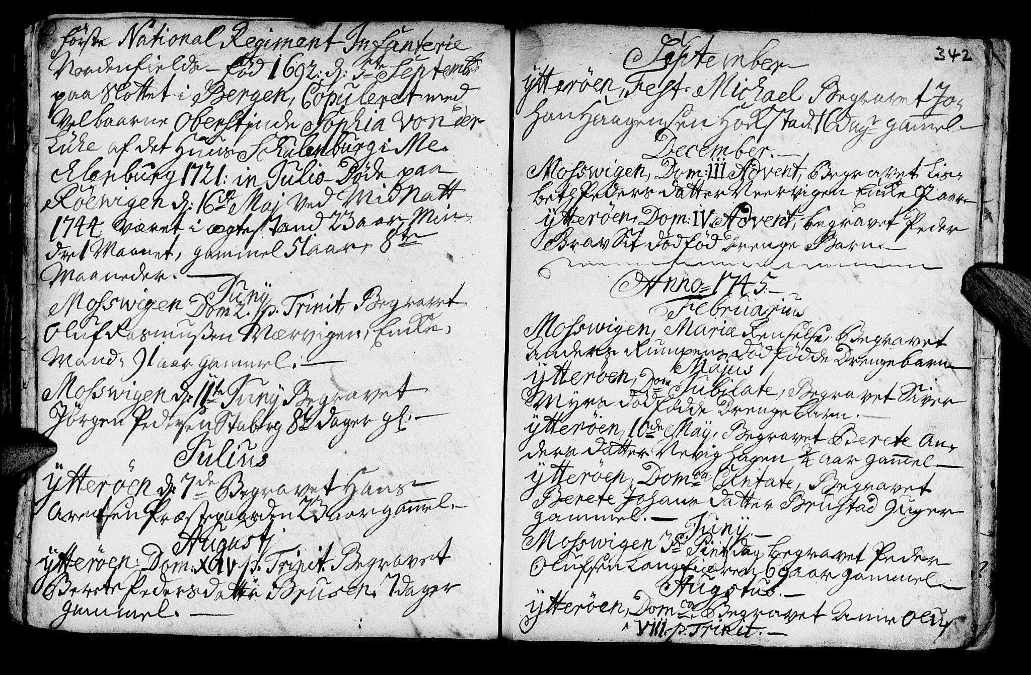 SAT, Ministerialprotokoller, klokkerbøker og fødselsregistre - Nord-Trøndelag, 722/L0215: Ministerialbok nr. 722A02, 1718-1755, s. 342