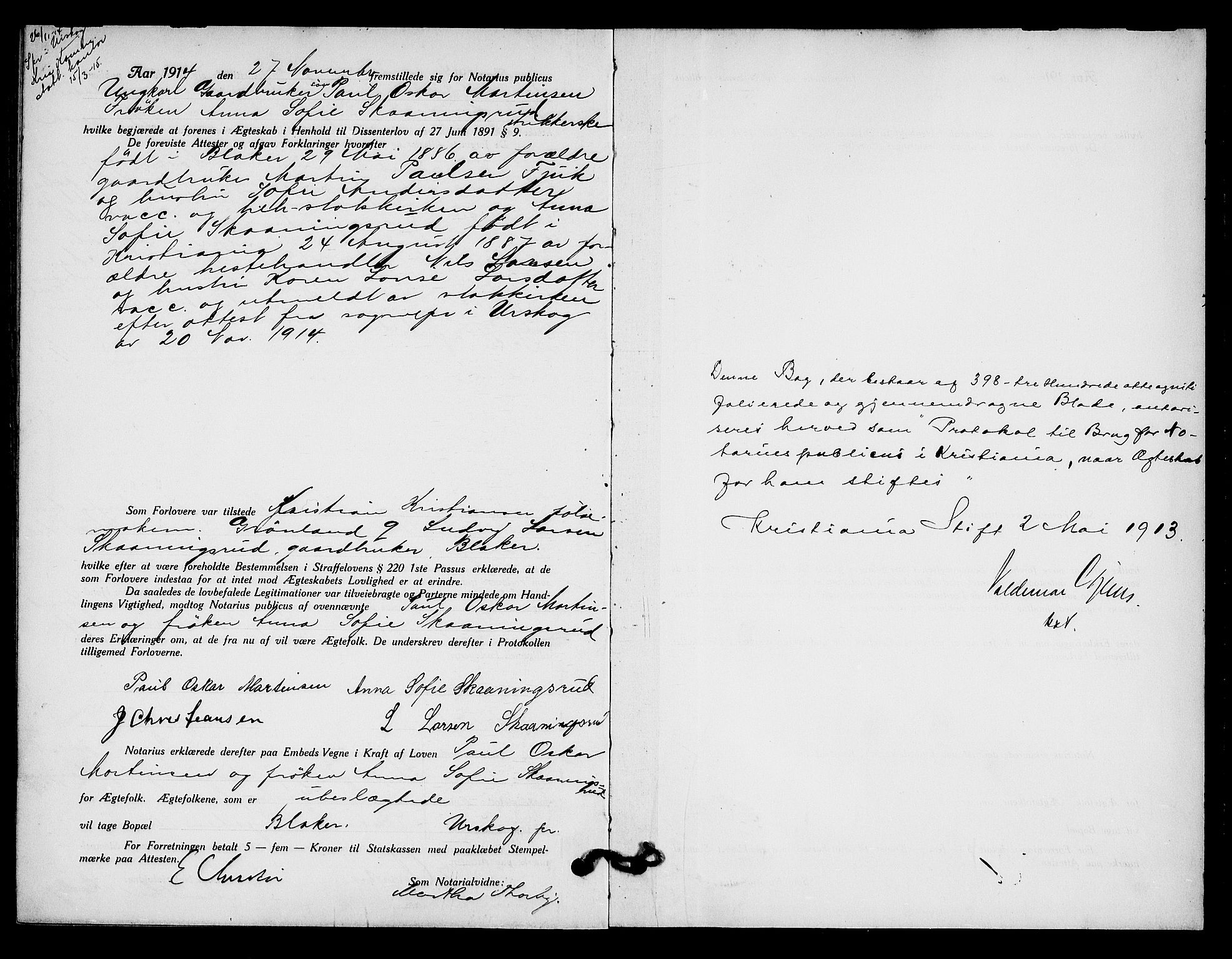 SAO, Oslo byfogd avd. I, L/Lb/Lbb/L0009: Notarialprotokoll, rekke II: Vigsler, 1913-1914, s. 398b