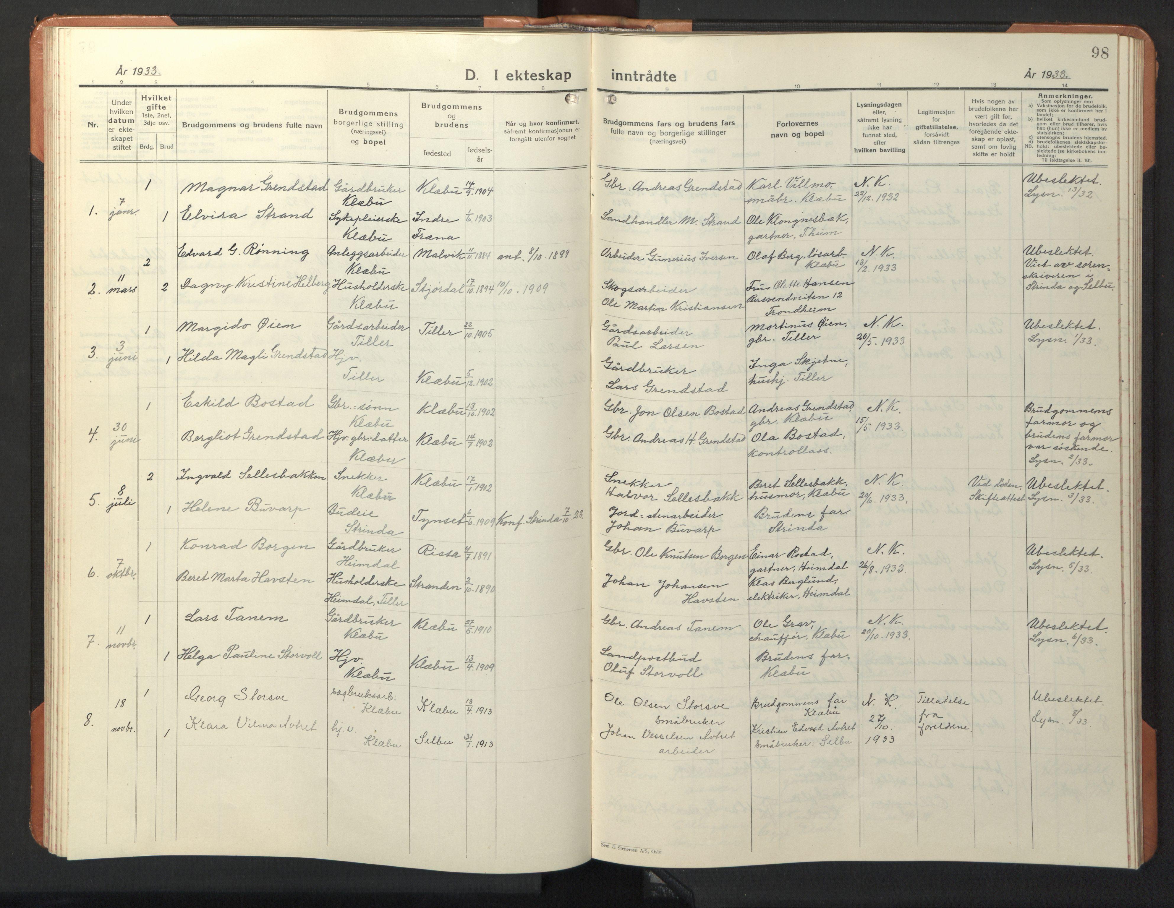 SAT, Ministerialprotokoller, klokkerbøker og fødselsregistre - Sør-Trøndelag, 618/L0454: Klokkerbok nr. 618C05, 1926-1946, s. 98