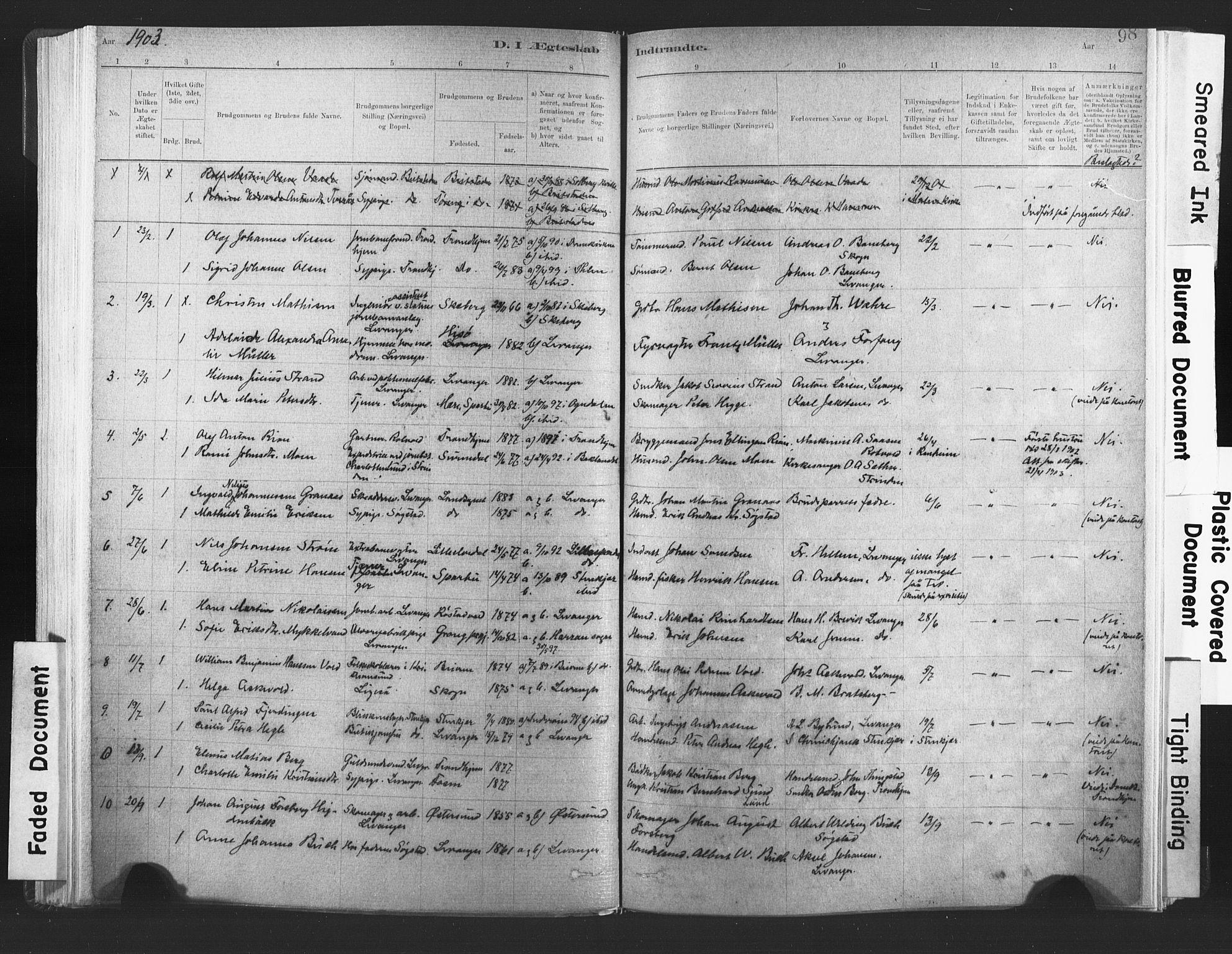 SAT, Ministerialprotokoller, klokkerbøker og fødselsregistre - Nord-Trøndelag, 720/L0189: Ministerialbok nr. 720A05, 1880-1911, s. 98