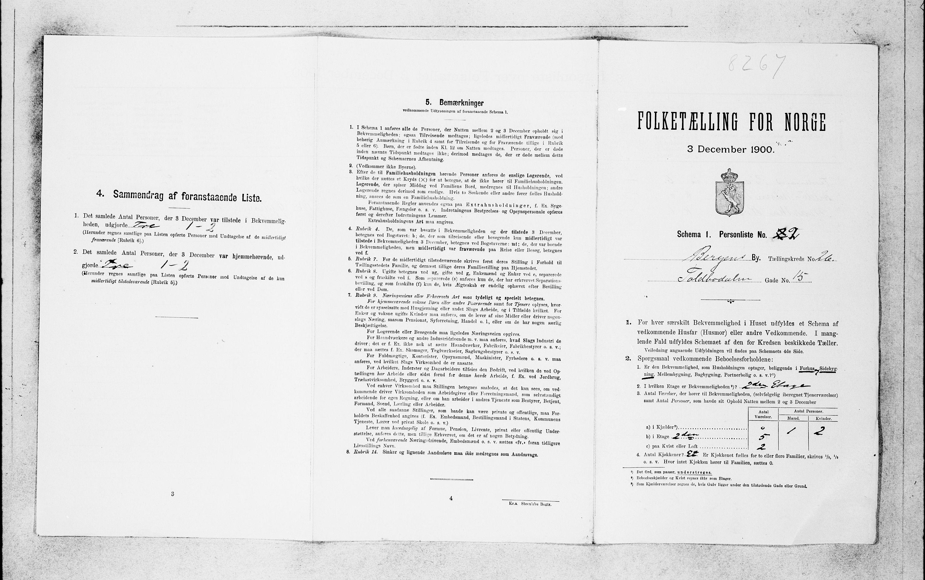 SAB, Folketelling 1900 for 1301 Bergen kjøpstad, 1900, s. 5428