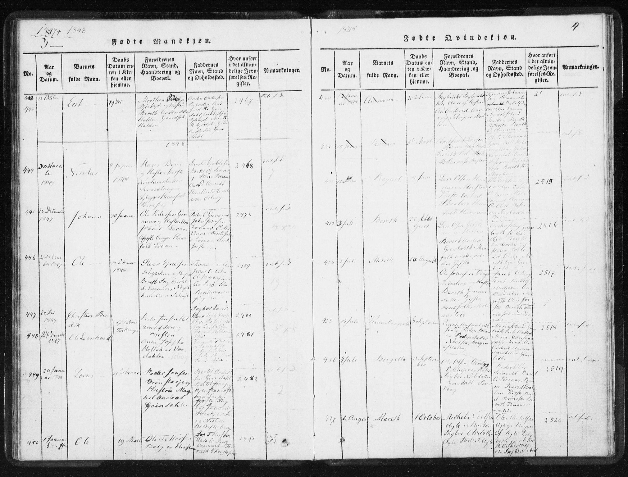 SAT, Ministerialprotokoller, klokkerbøker og fødselsregistre - Nord-Trøndelag, 749/L0471: Ministerialbok nr. 749A05, 1847-1856, s. 3-4
