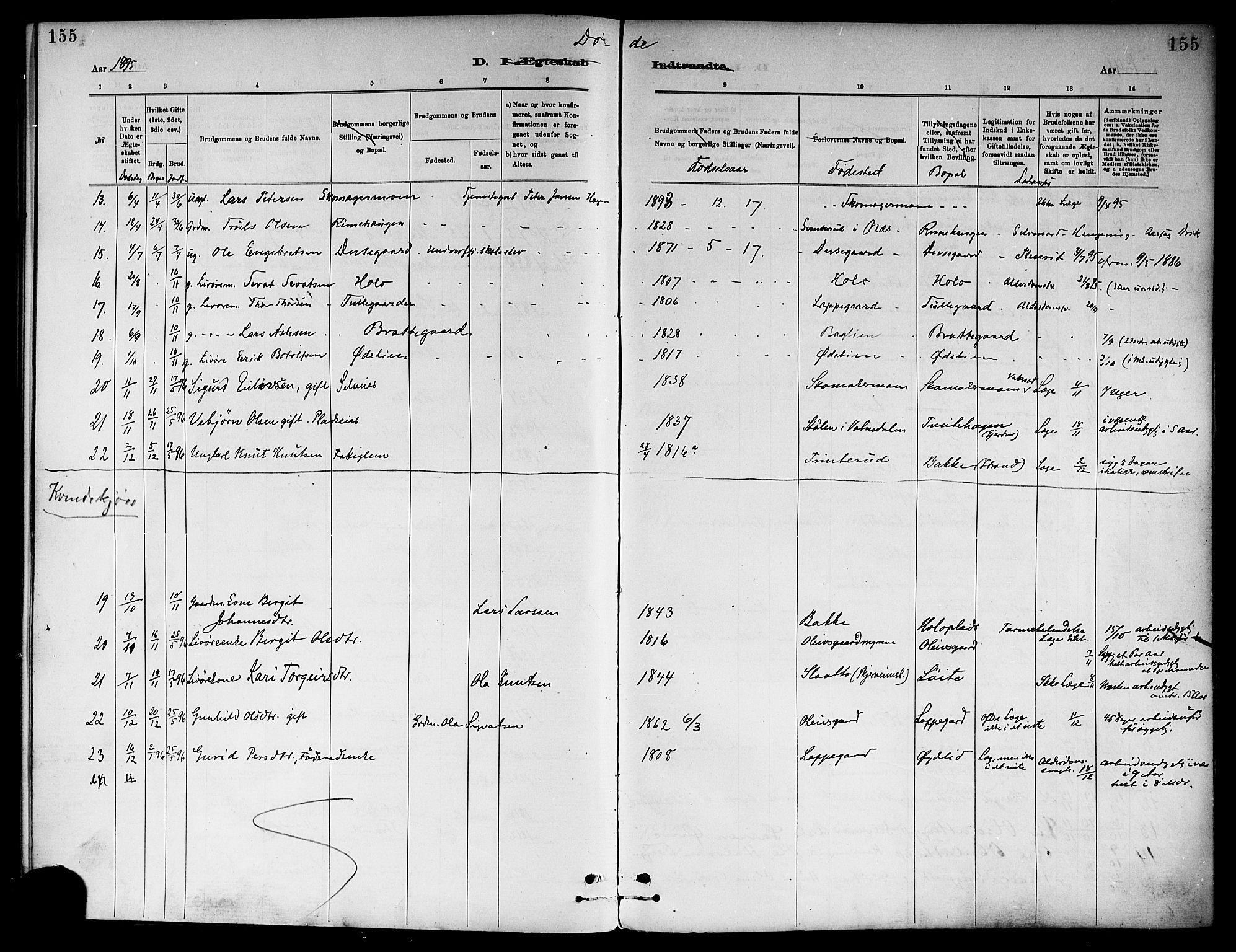 SAKO, Ål kirkebøker, F/Fa/L0008: Ministerialbok nr. I 8, 1882-1896, s. 155