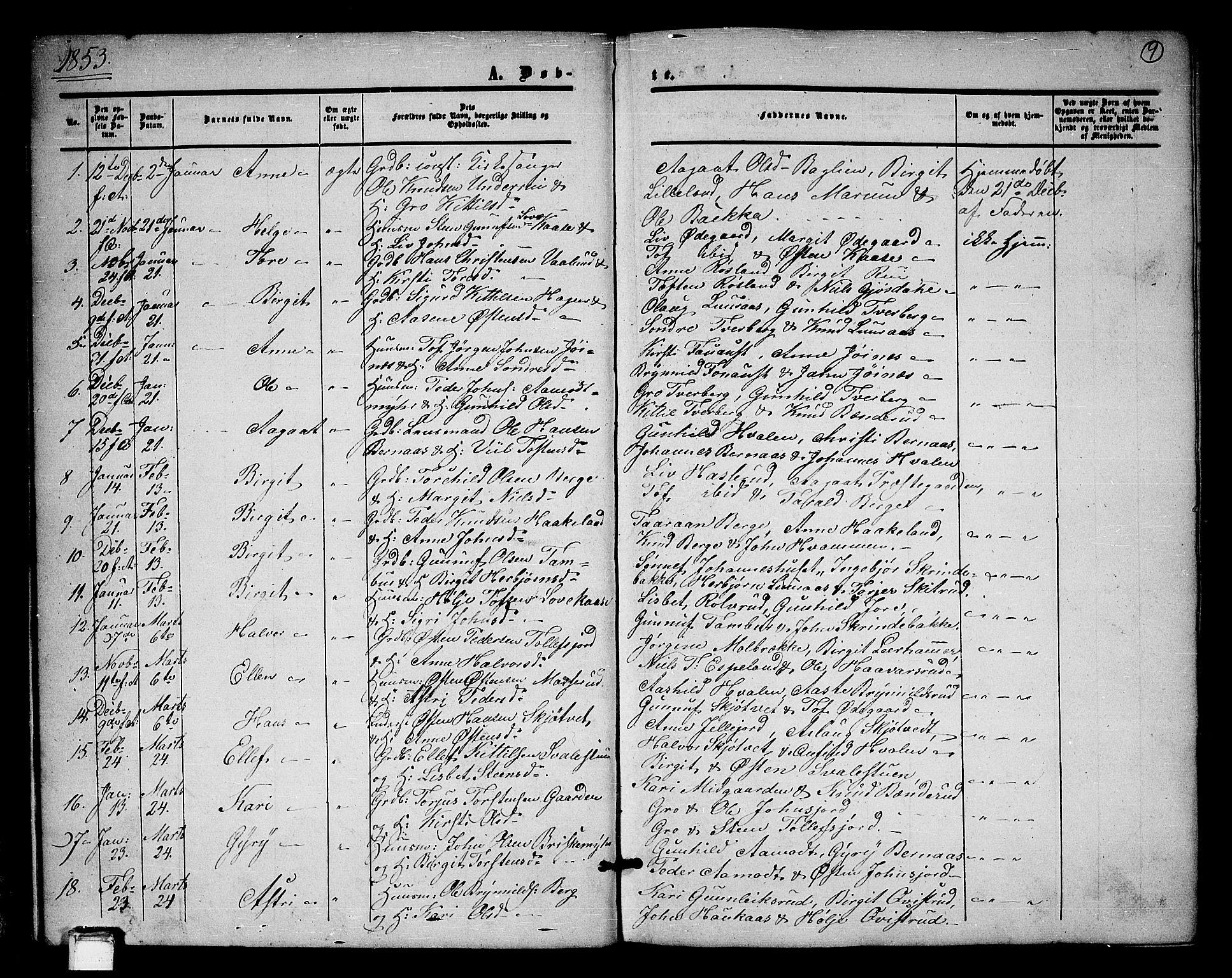 SAKO, Tinn kirkebøker, G/Ga/L0002: Klokkerbok nr. I 2, 1851-1883, s. 9