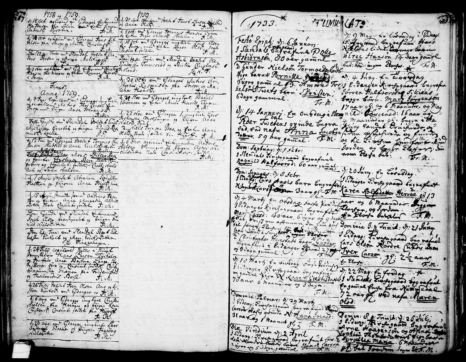 SAKO, Eidanger kirkebøker, F/Fa/L0004: Ministerialbok nr. 4, 1733-1759, s. 287-288