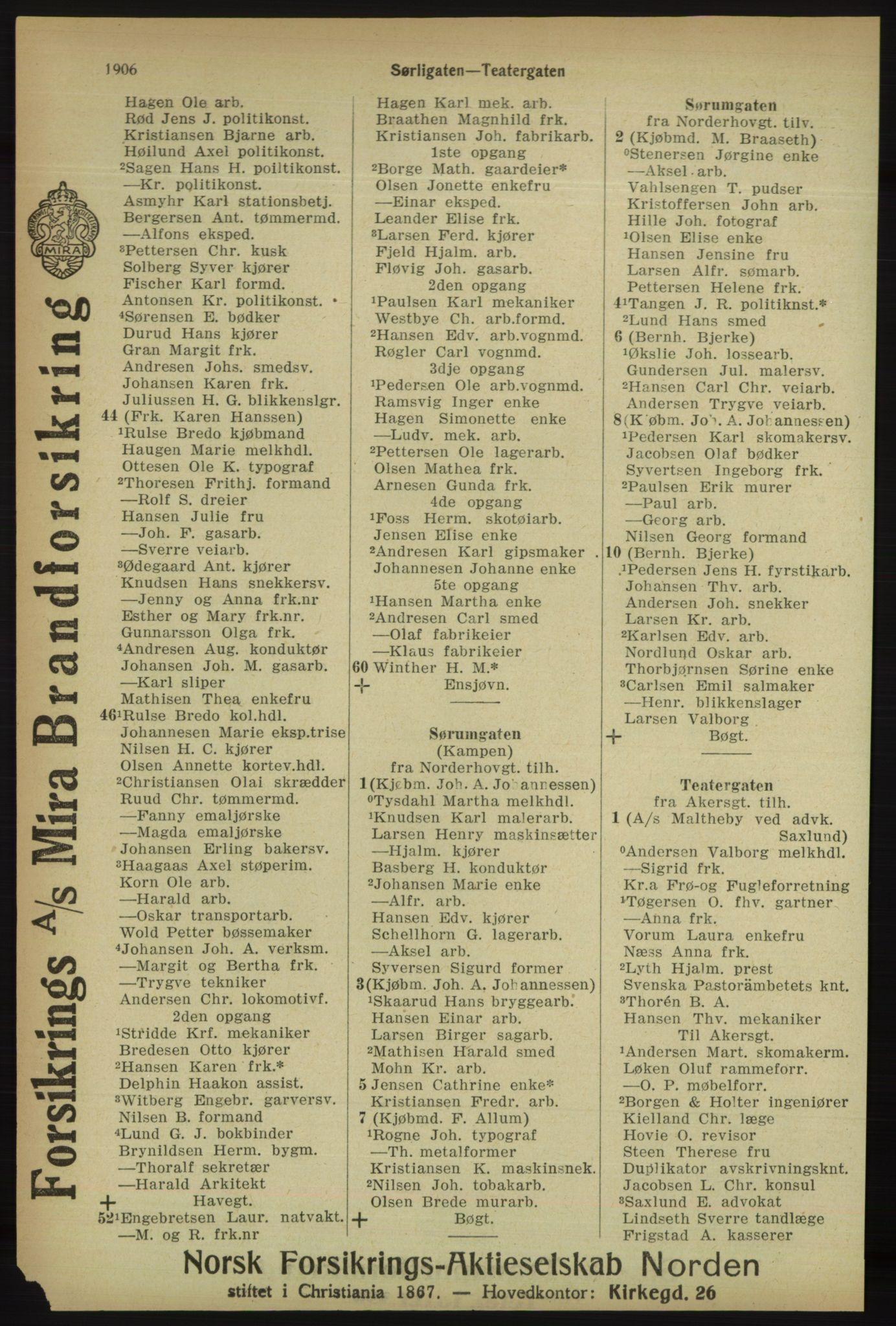 RA, Kristiania adressebok (publikasjon)*, 1918, s. 1906