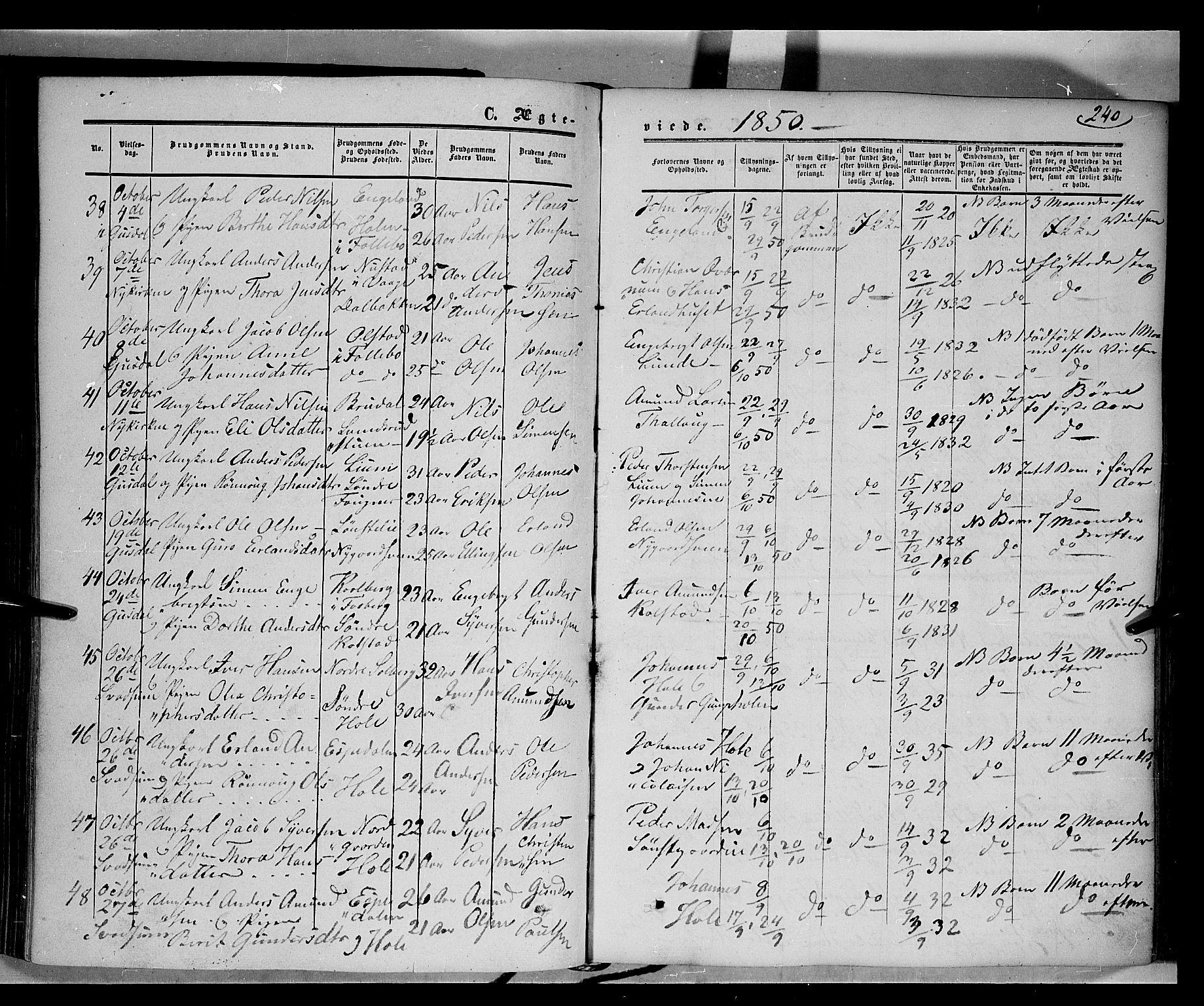 SAH, Gausdal prestekontor, Ministerialbok nr. 8, 1850-1861, s. 240