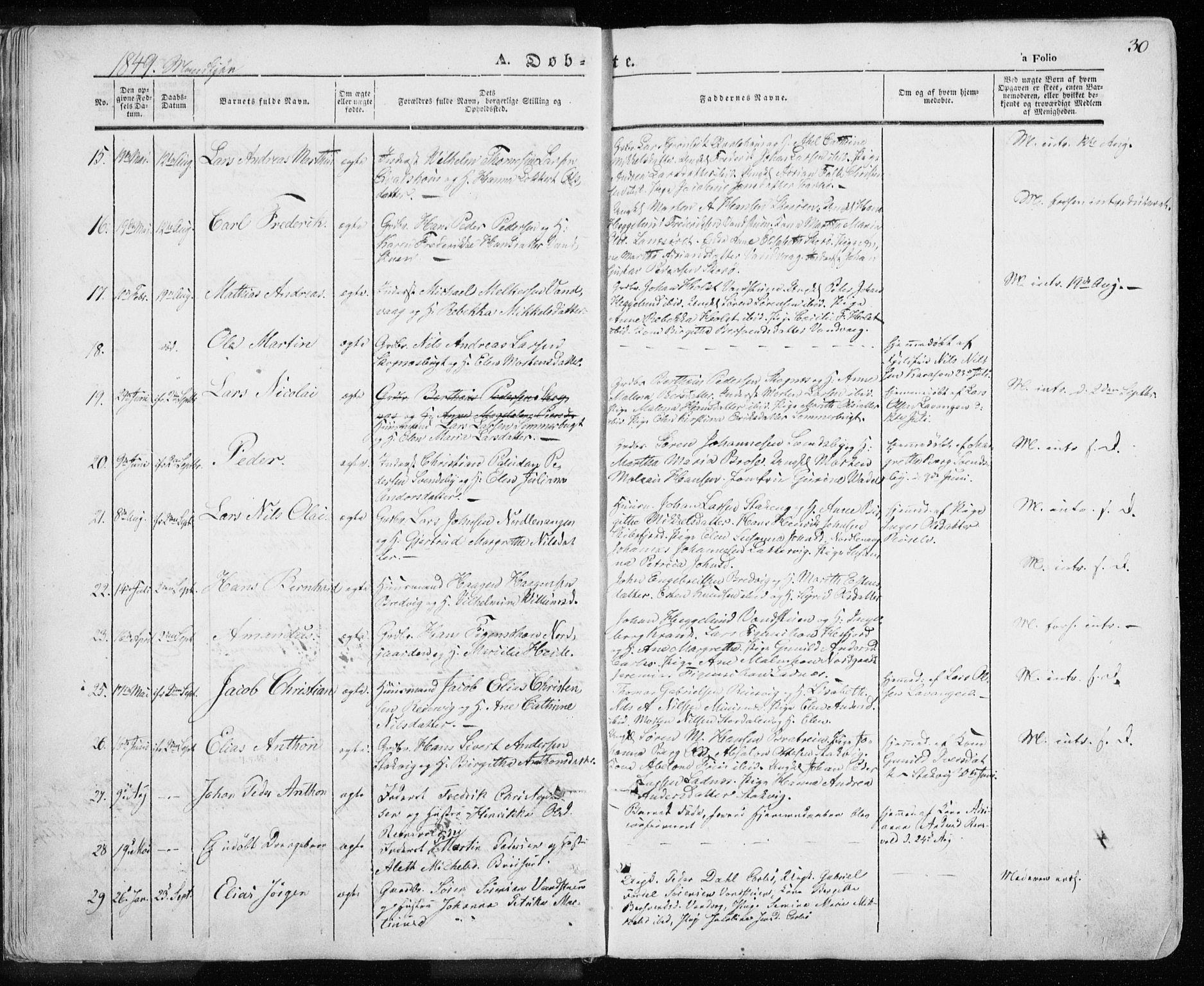 SATØ, Karlsøy sokneprestembete, H/Ha/Haa/L0003kirke: Ministerialbok nr. 3, 1843-1860, s. 30
