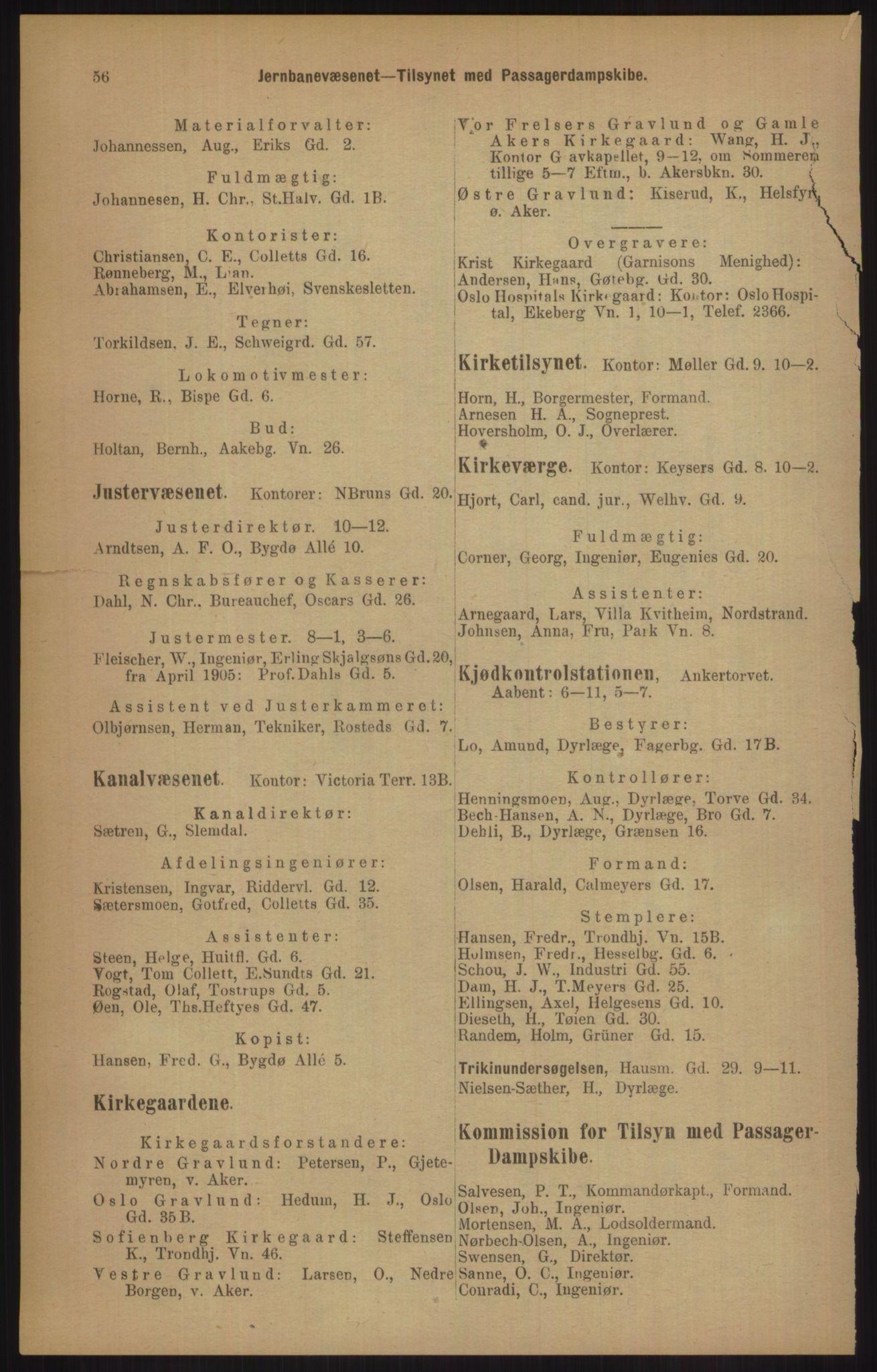 RA, Kristiania adressebok (publikasjon)*, 1905, s. 56