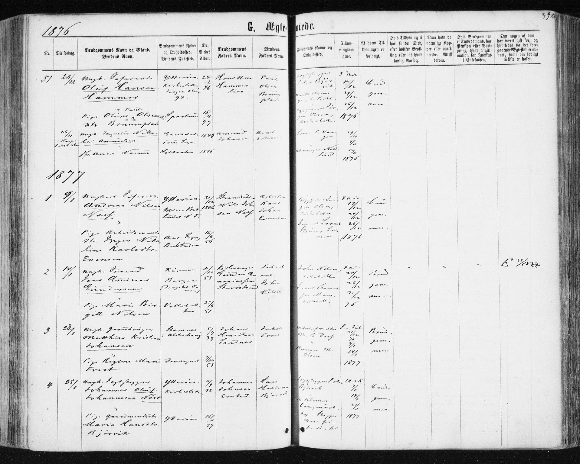 SAT, Ministerialprotokoller, klokkerbøker og fødselsregistre - Sør-Trøndelag, 604/L0186: Ministerialbok nr. 604A07, 1866-1877, s. 392