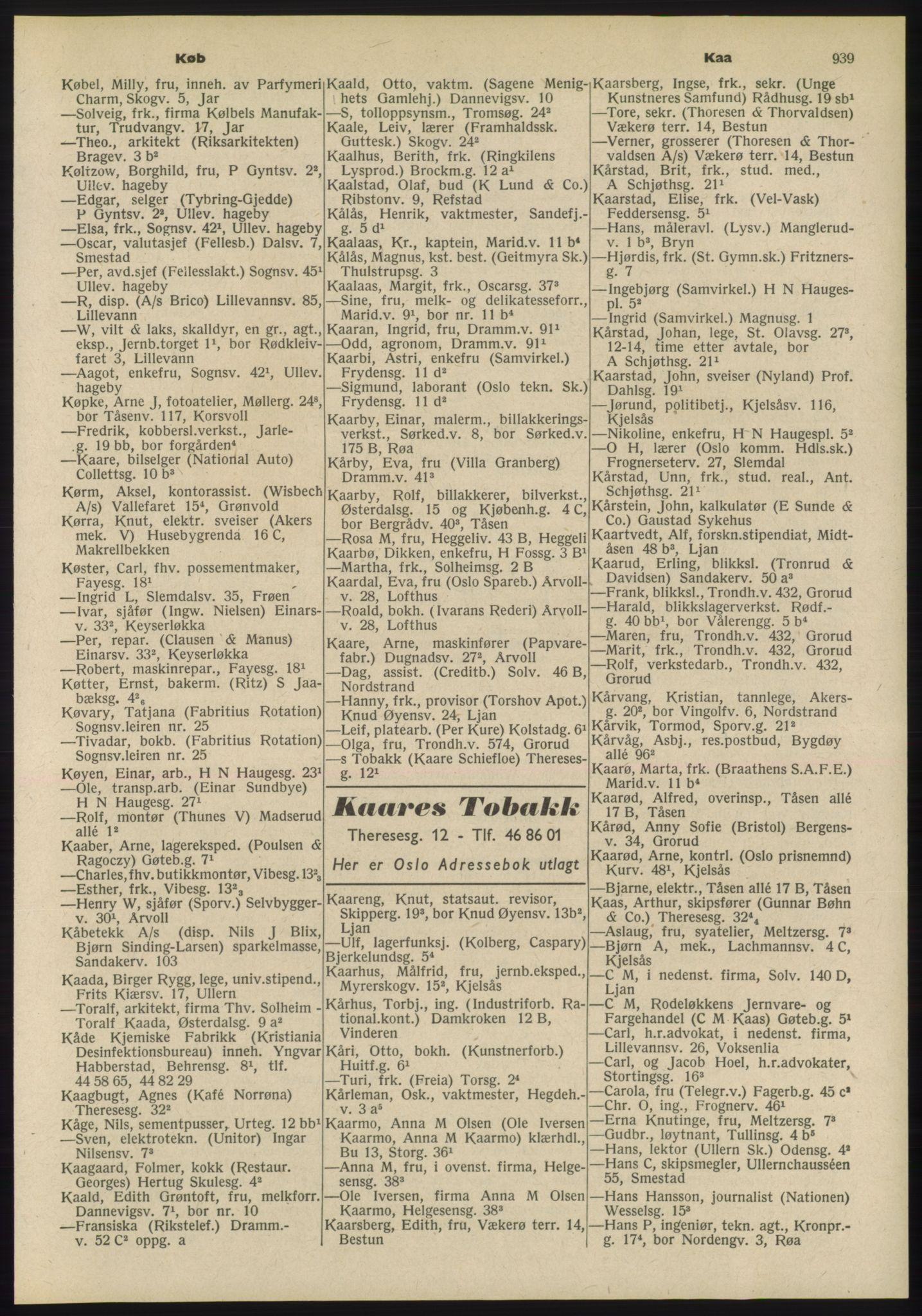 PUBL, Kristiania/Oslo adressebok, 1955, s. 939