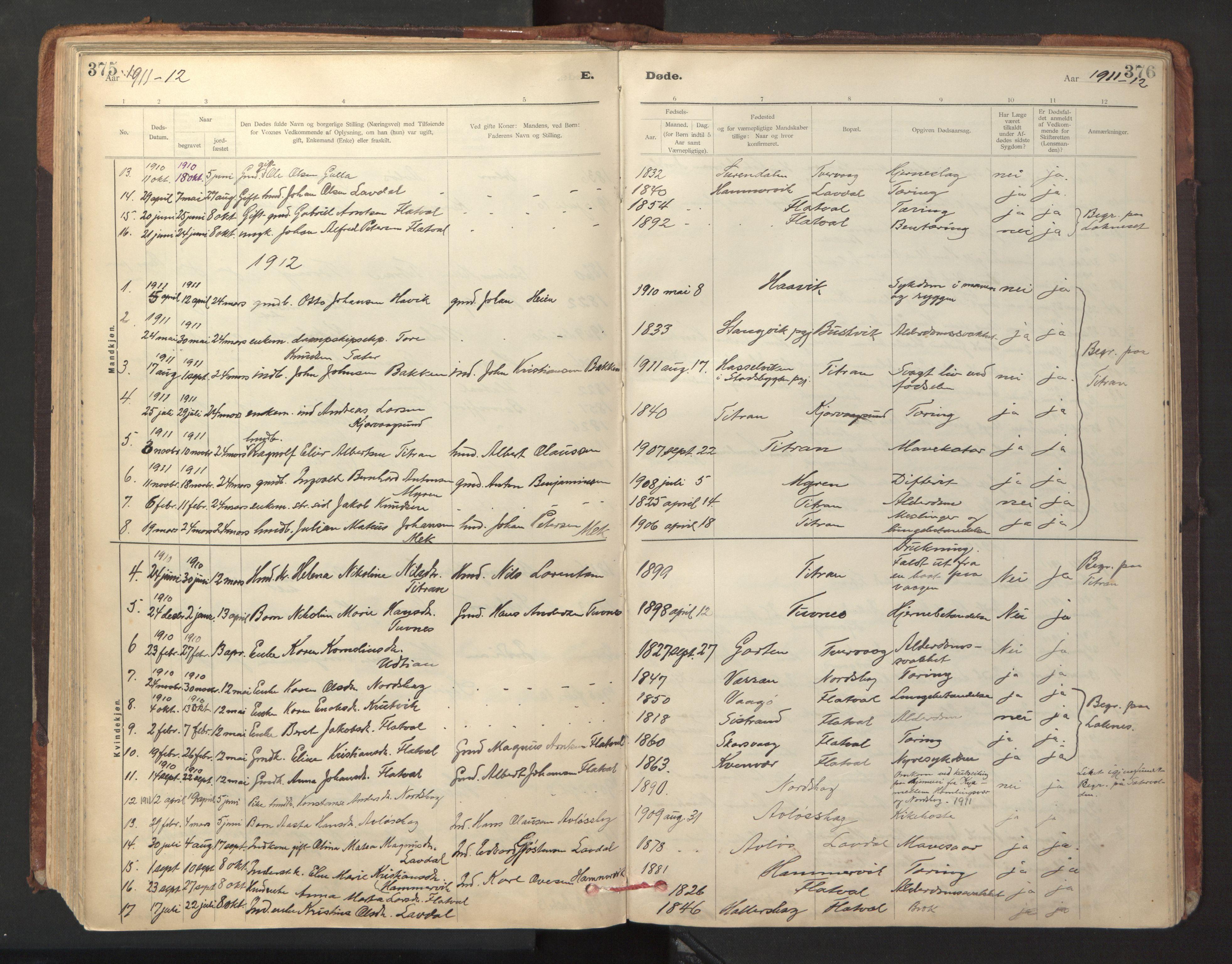 SAT, Ministerialprotokoller, klokkerbøker og fødselsregistre - Sør-Trøndelag, 641/L0596: Ministerialbok nr. 641A02, 1898-1915, s. 375-376