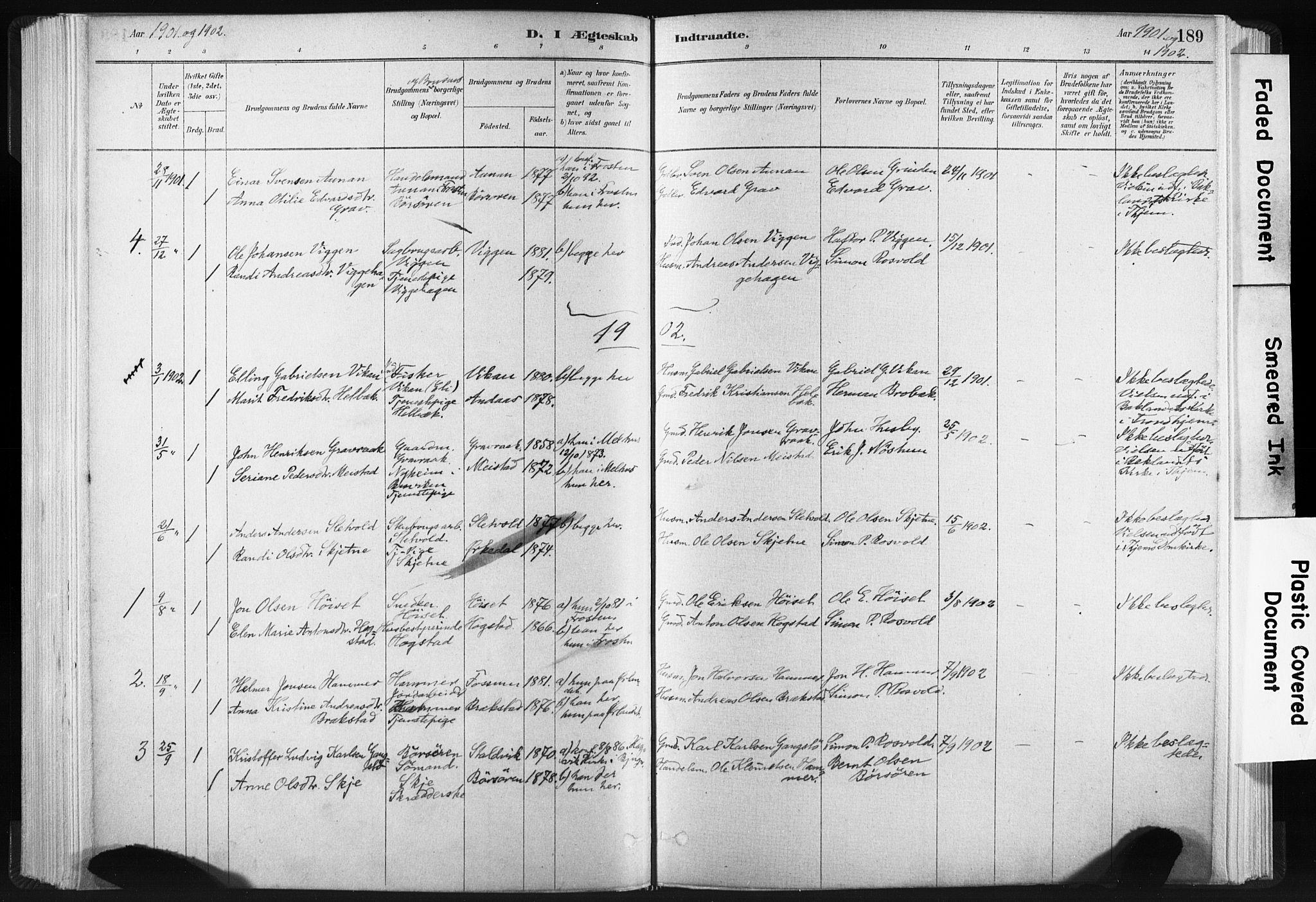 SAT, Ministerialprotokoller, klokkerbøker og fødselsregistre - Sør-Trøndelag, 665/L0773: Ministerialbok nr. 665A08, 1879-1905, s. 189