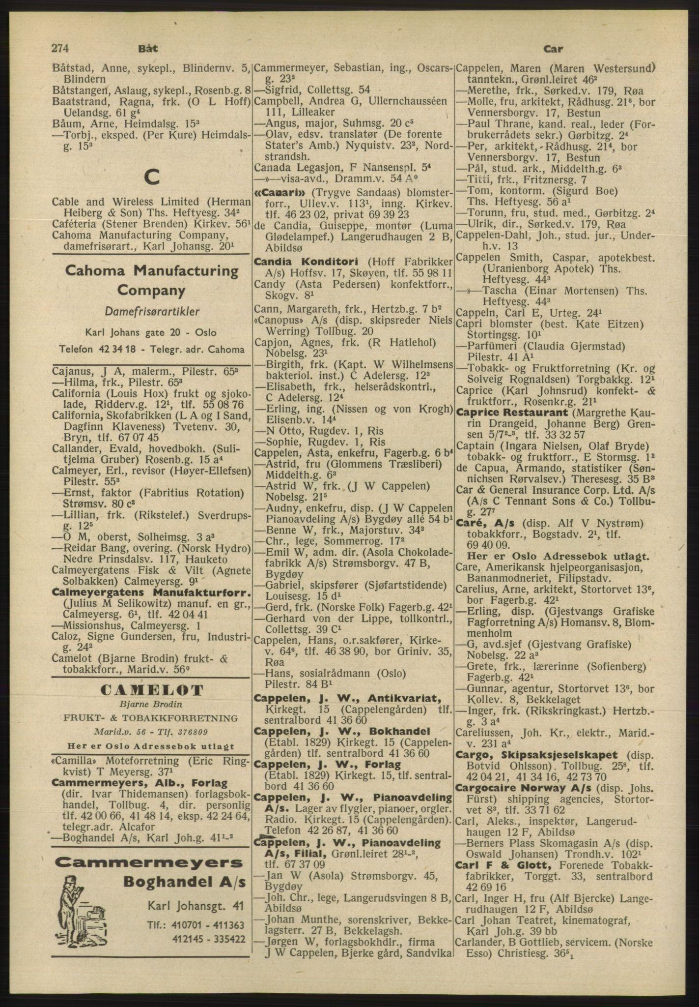 RA, Oslo adressebok (publikasjon)*, 1955, s. 274