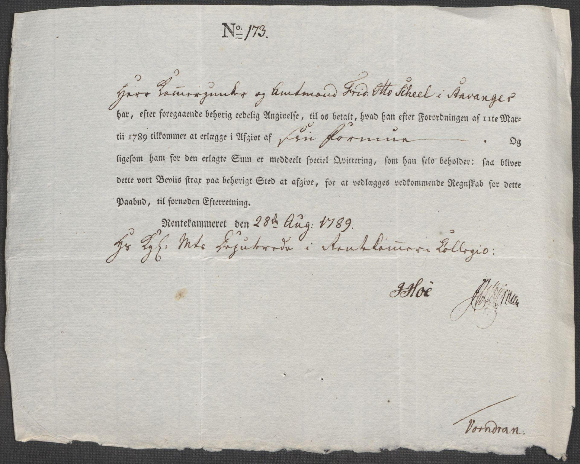 RA, Rentekammeret inntil 1814, Reviderte regnskaper, Mindre regnskaper, Rf/Rfe/L0045: Stavanger, Stjørdal og Verdal fogderi, 1789, s. 120