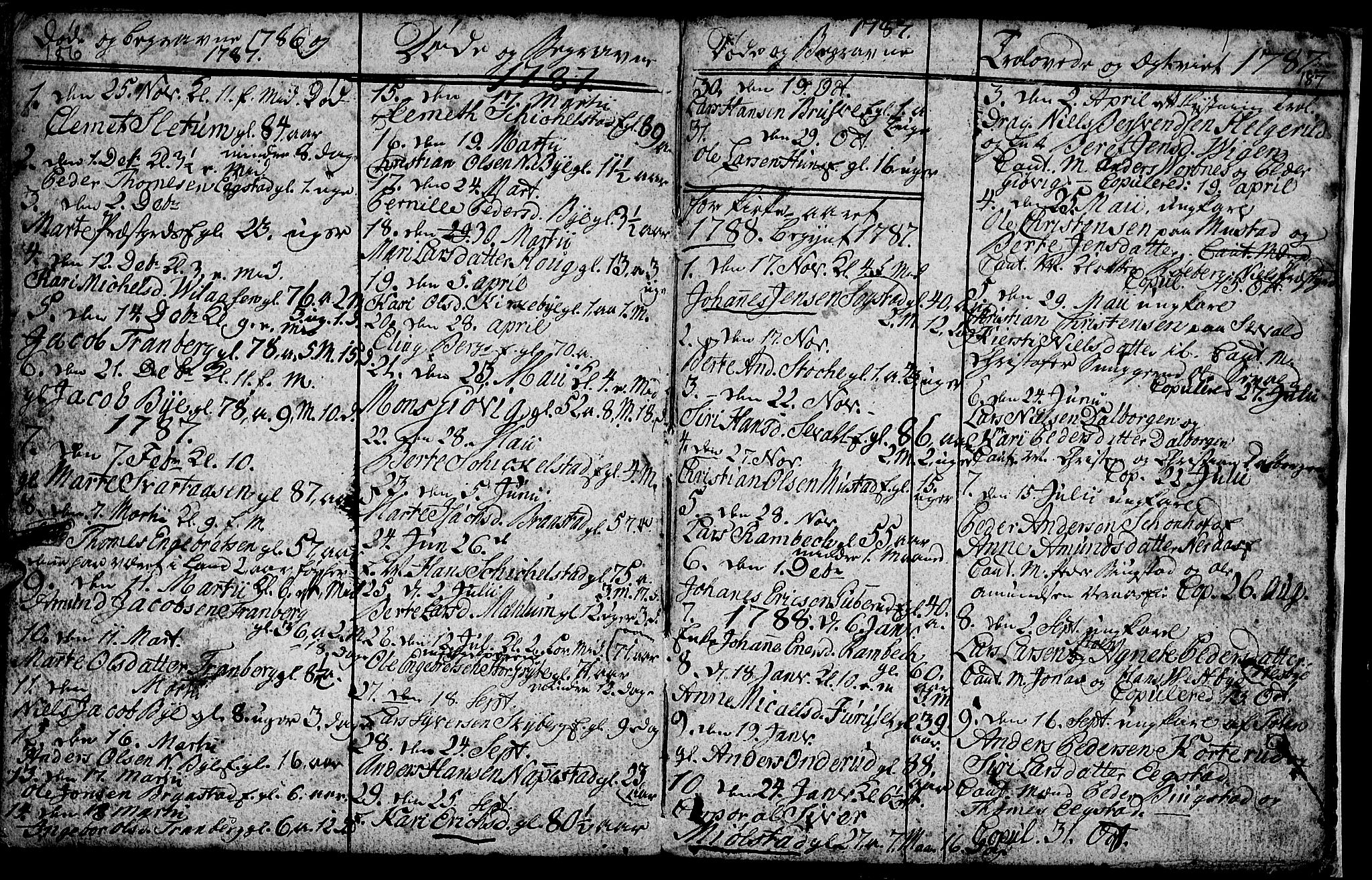 SAH, Vardal prestekontor, H/Ha/Hab/L0001: Klokkerbok nr. 1, 1771-1790, s. 186-187