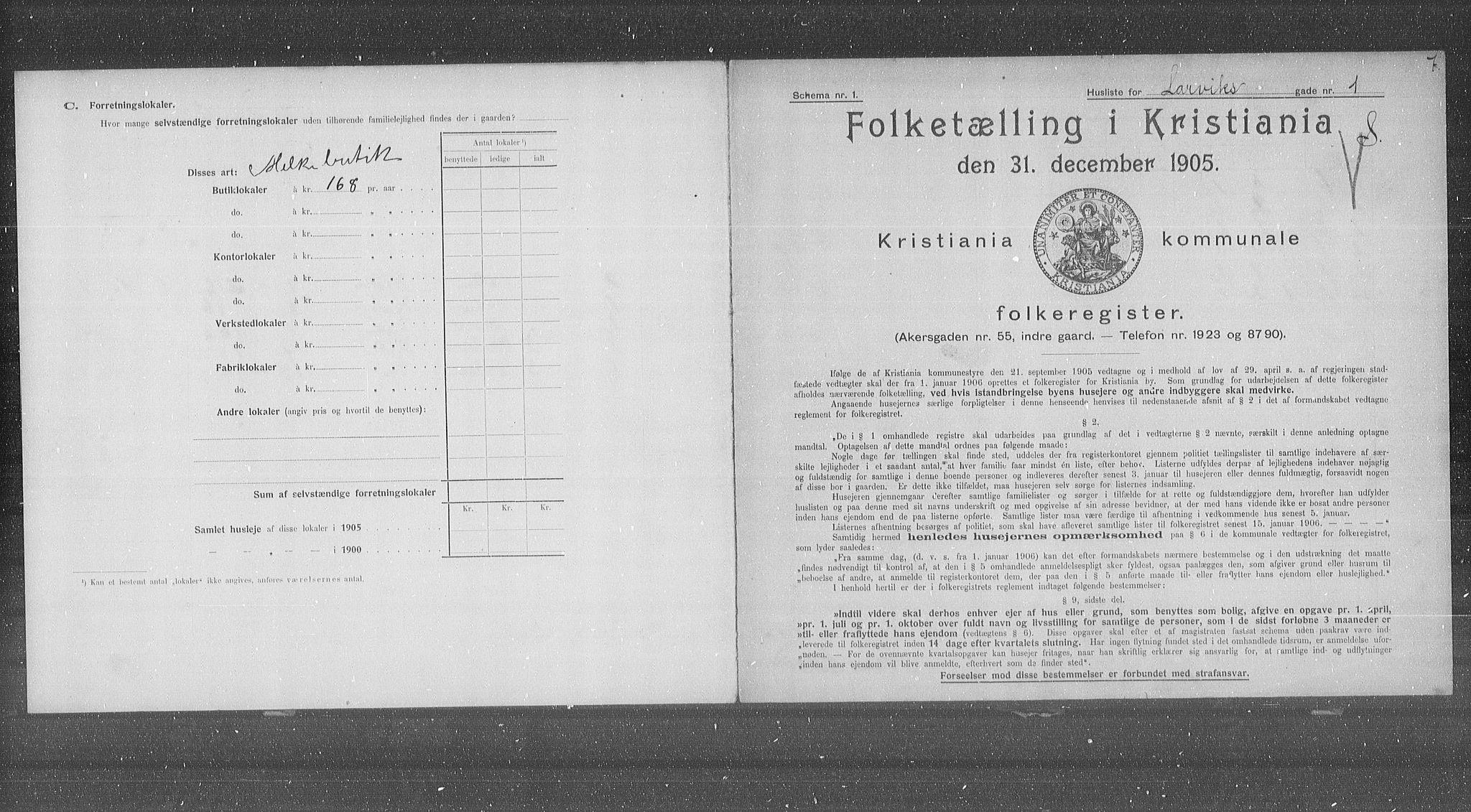 OBA, Kommunal folketelling 1905 for Kristiania kjøpstad, 1905, s. 29957
