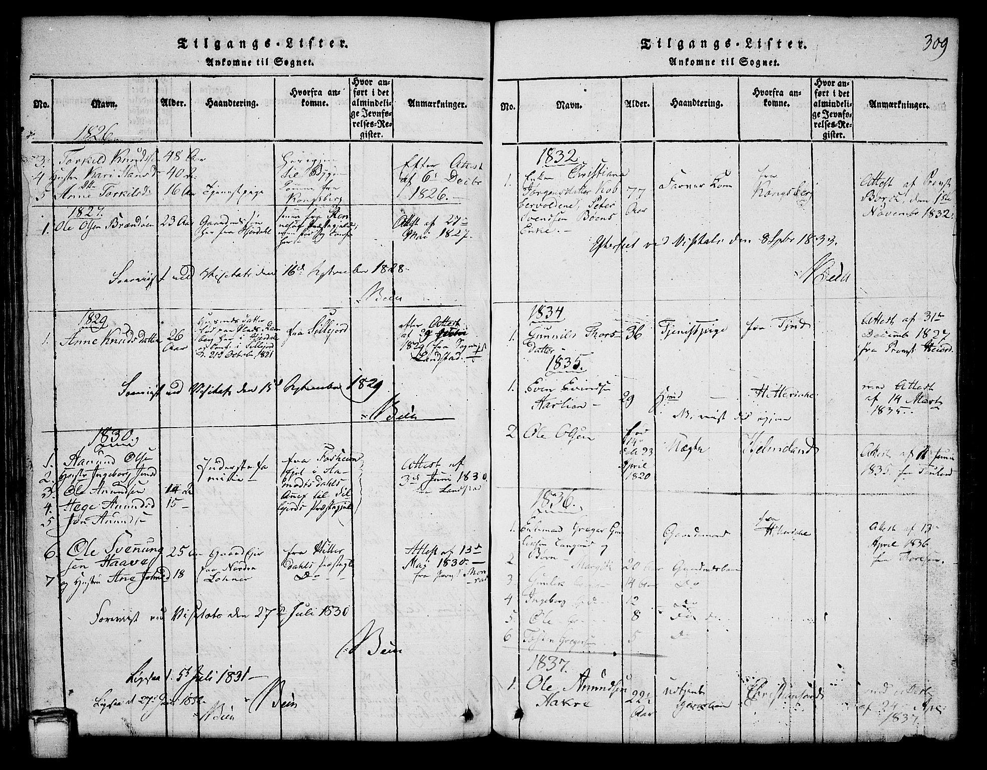 SAKO, Hjartdal kirkebøker, G/Ga/L0001: Klokkerbok nr. I 1, 1815-1842, s. 309