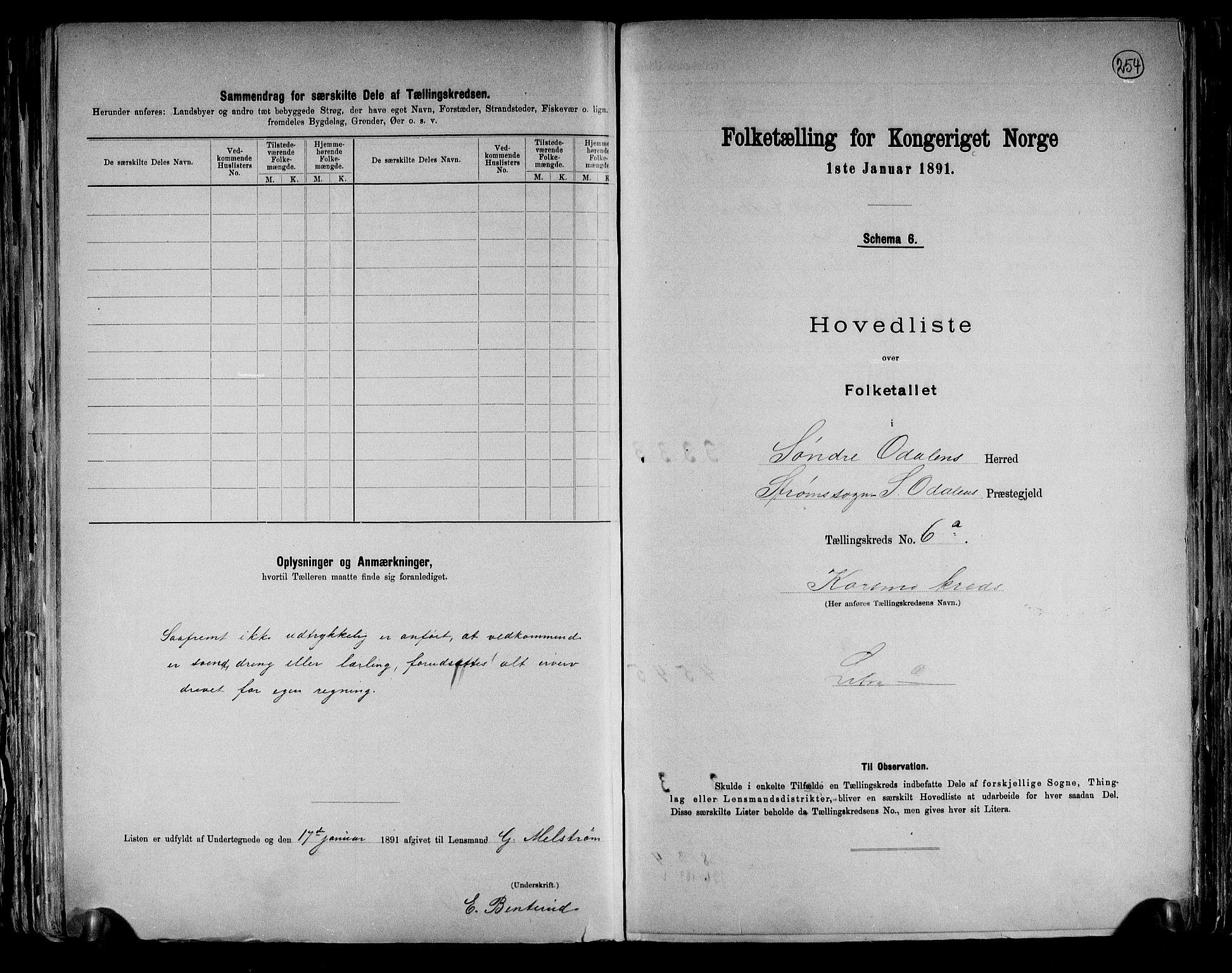 RA, Folketelling 1891 for 0419 Sør-Odal herred, 1891, s. 16