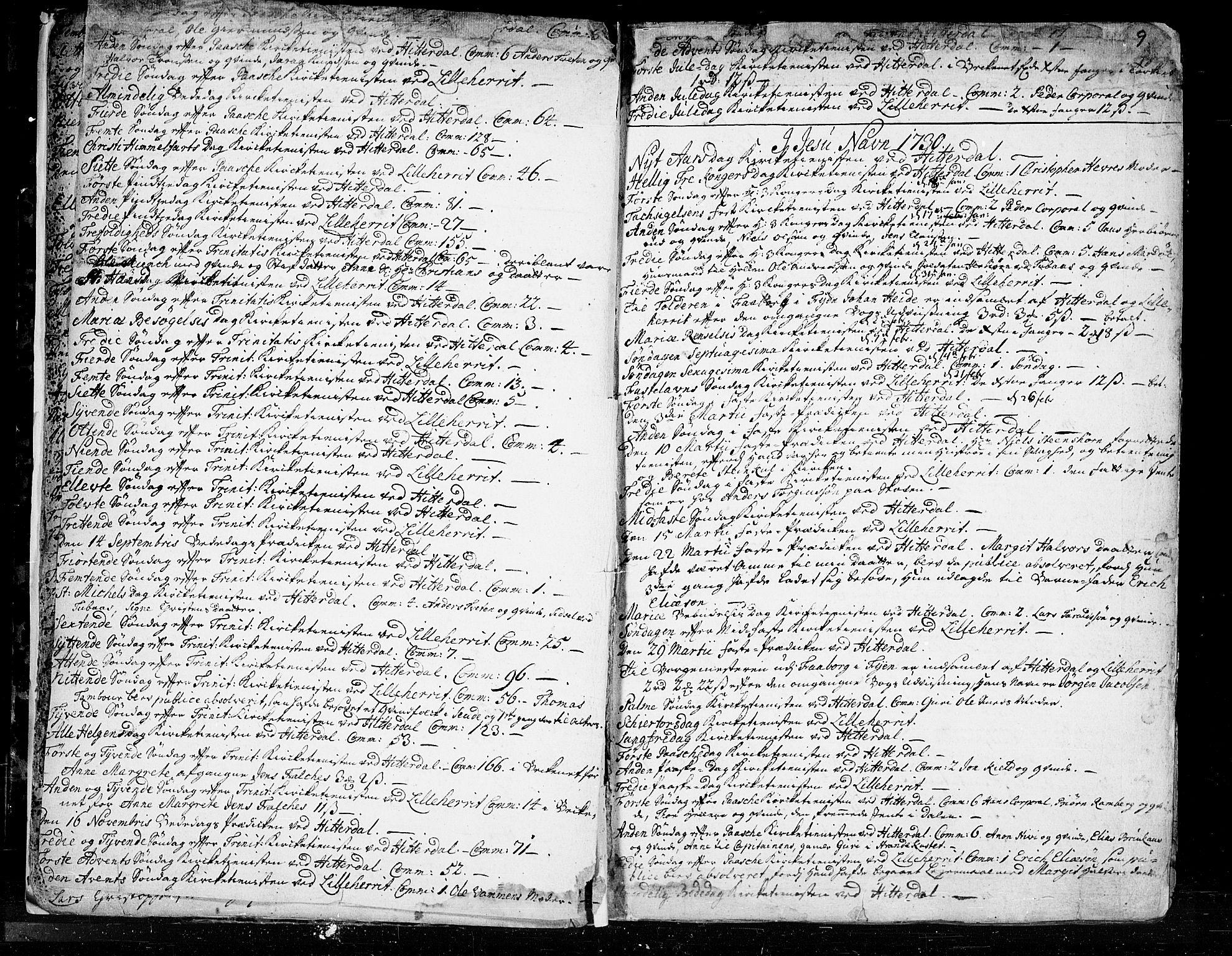 SAKO, Heddal kirkebøker, F/Fa/L0003: Ministerialbok nr. I 3, 1723-1783, s. 9