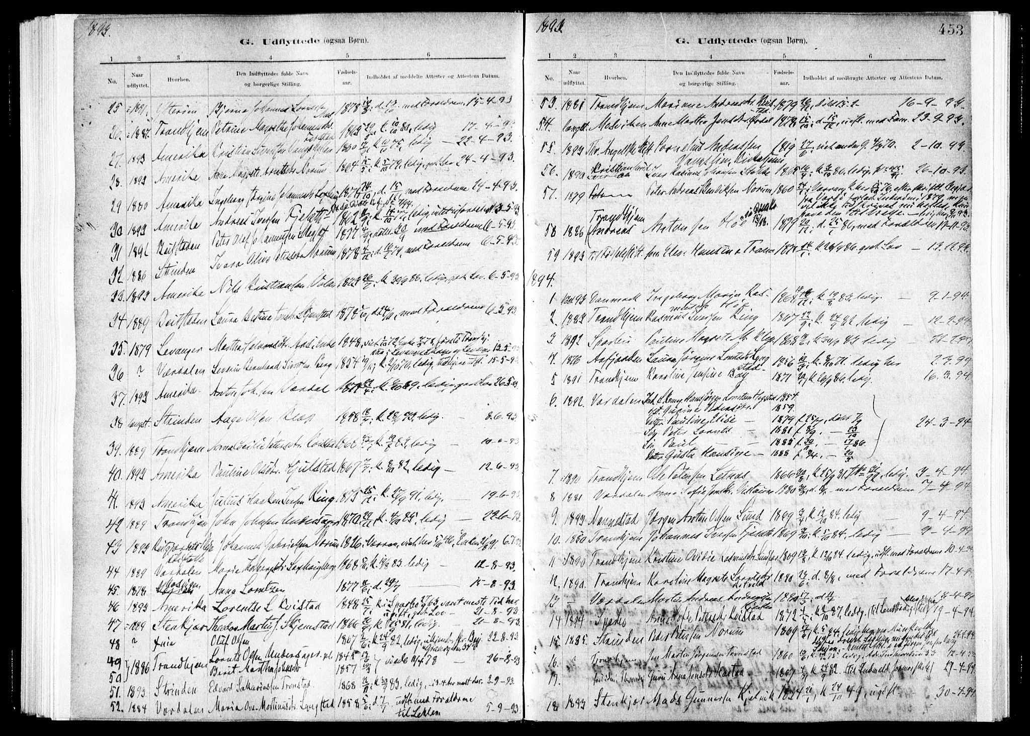 SAT, Ministerialprotokoller, klokkerbøker og fødselsregistre - Nord-Trøndelag, 730/L0285: Ministerialbok nr. 730A10, 1879-1914, s. 453