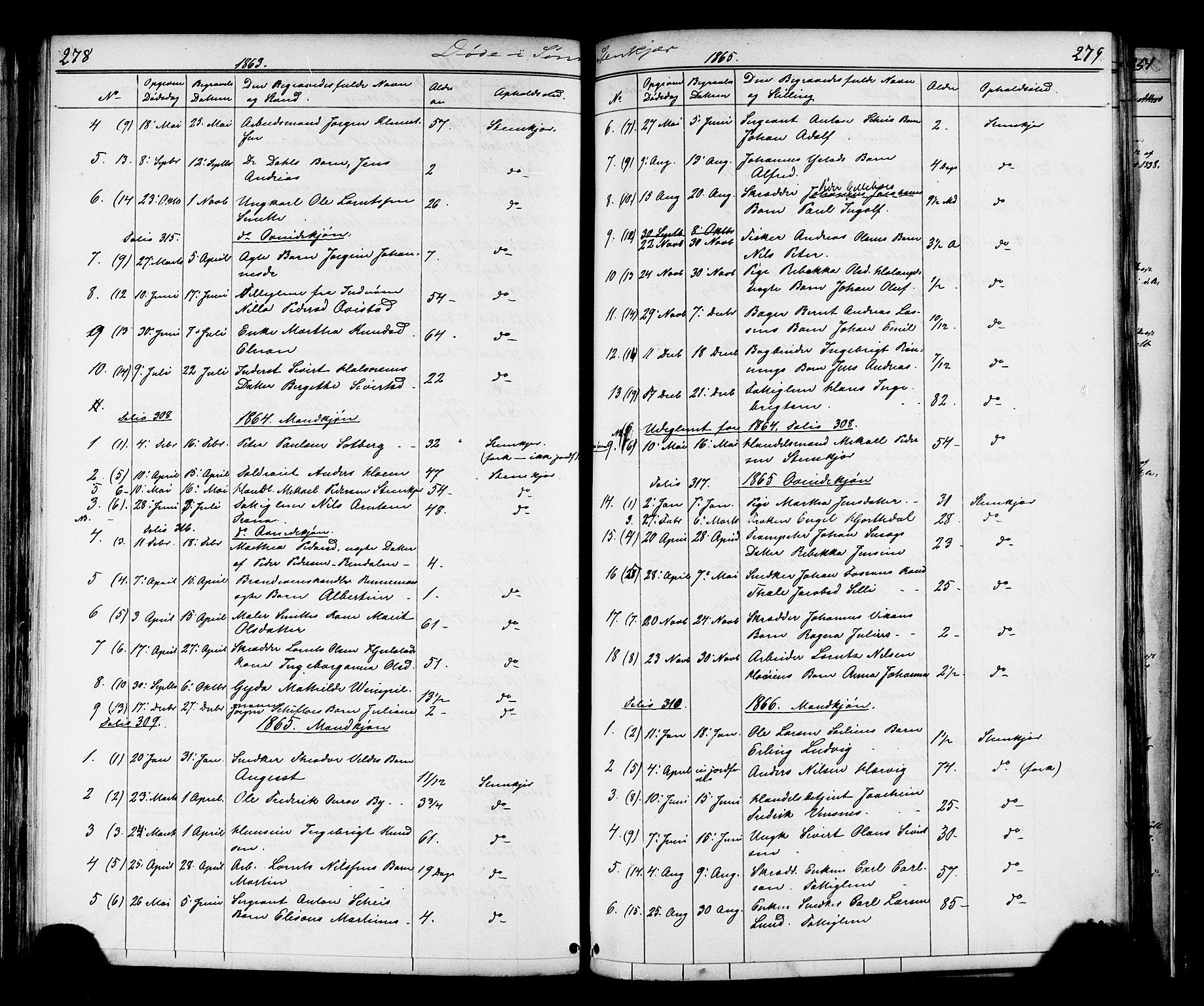 SAT, Ministerialprotokoller, klokkerbøker og fødselsregistre - Nord-Trøndelag, 739/L0367: Ministerialbok nr. 739A01 /1, 1838-1868, s. 278-279